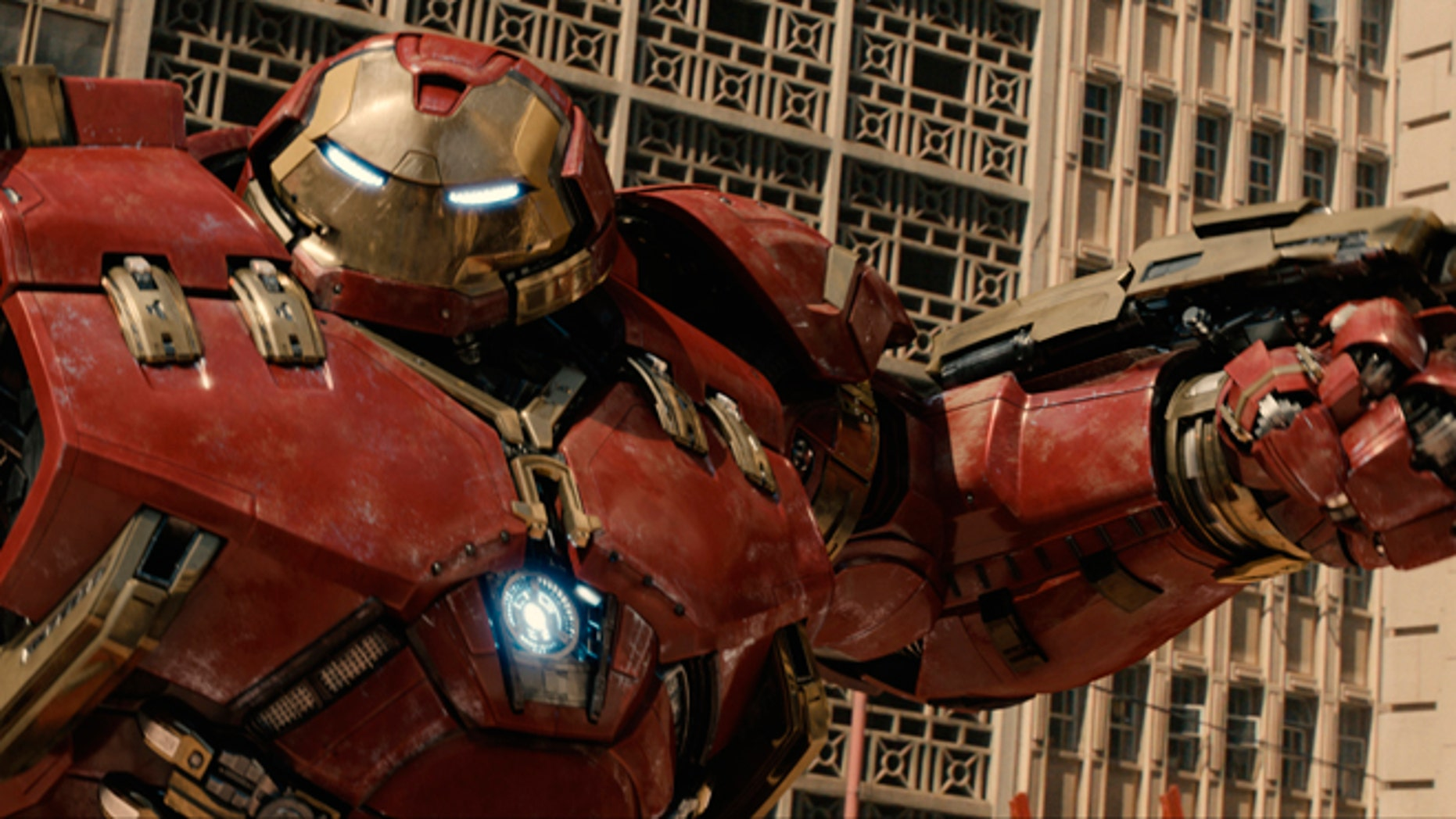 """This photo provided by Disney/Marvel shows, Hulkbuster in a scene from the new film, """"Avengers: Age Of Ultron."""""""