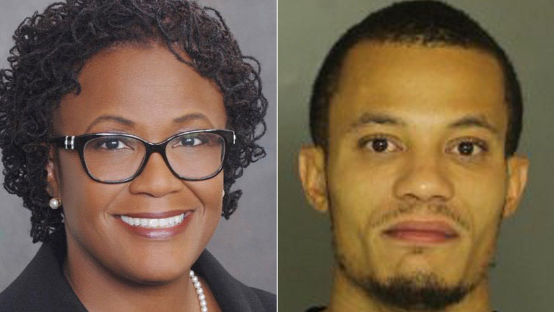 Mayor Kim Bracey of York, Pa. and a mugshot (r) of her son Brandon Anderson, 30
