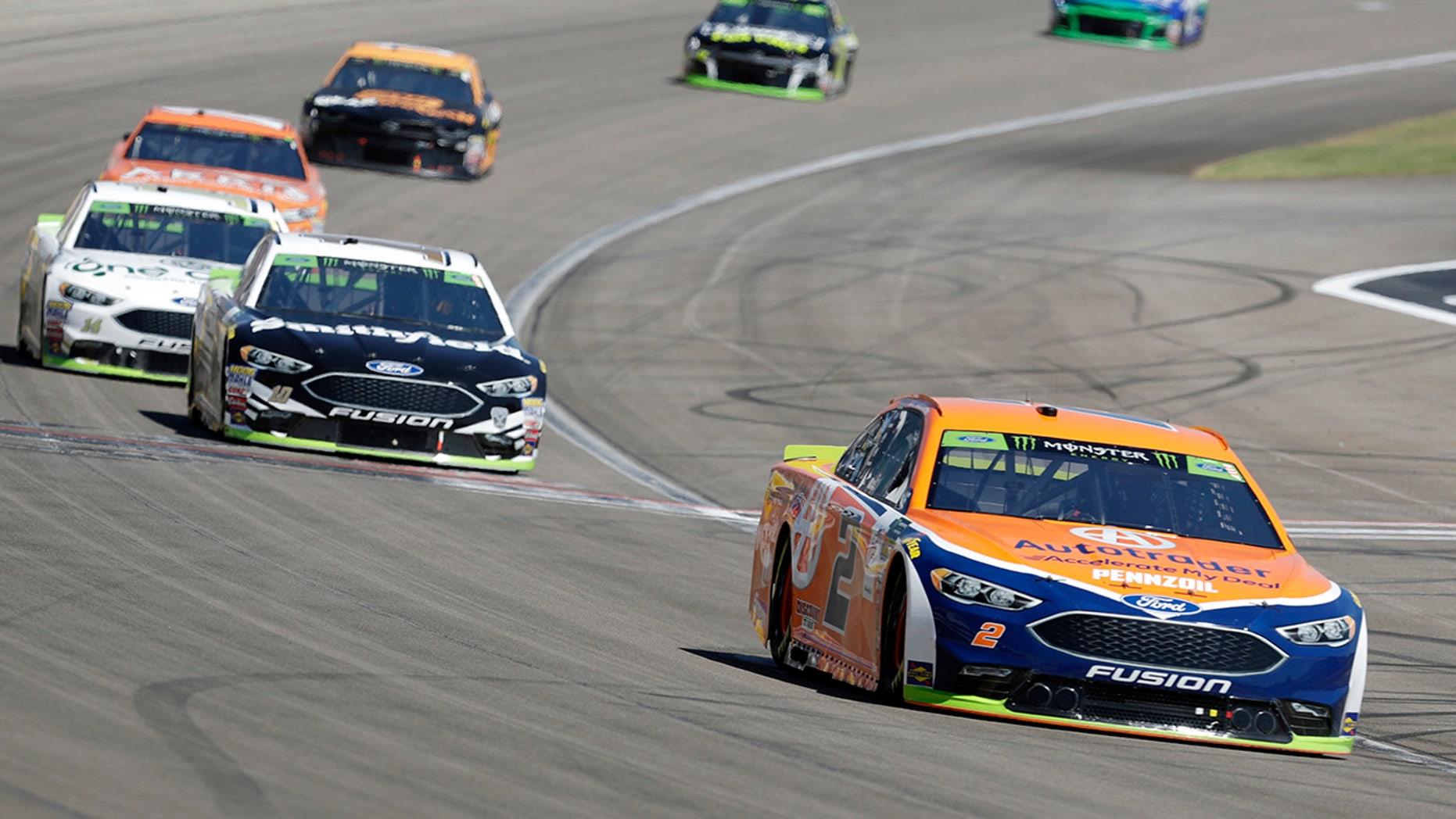 Brad Keselowski (2) drives during a NASCAR Cup Series auto race Sunday, Sept. 16, 2018, in Las Vegas. (AP Photo/Isaac Brekken)
