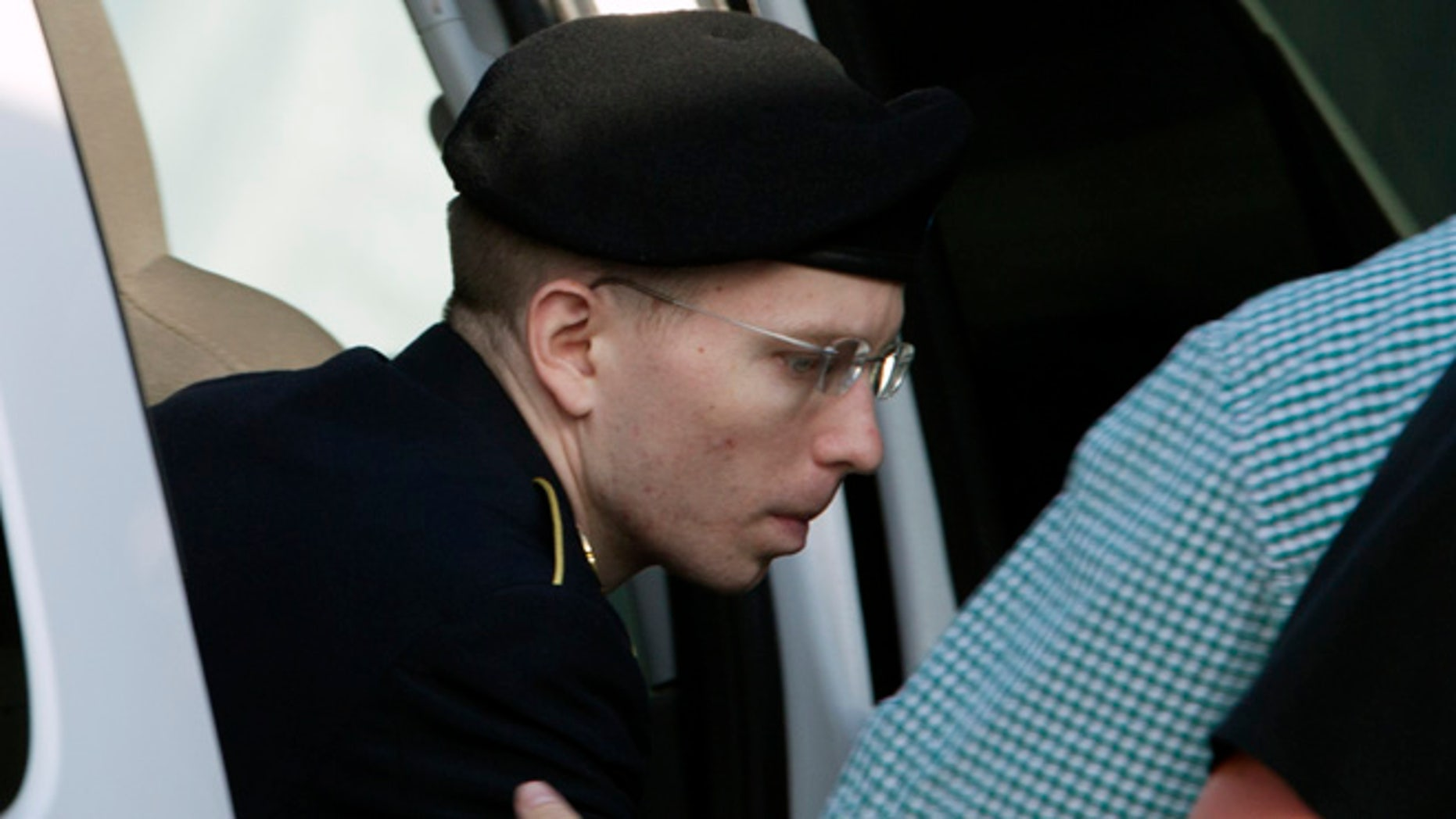July 8, 2013: Army Pfc. Bradley Manning arrives at the  courthouse in Fort Meade, Md., after the start of the sixth week of his court martial. Manning is charged with indirectly aiding the enemy by sending troves of classified material to WikiLeaks. He faces up to life in prison.