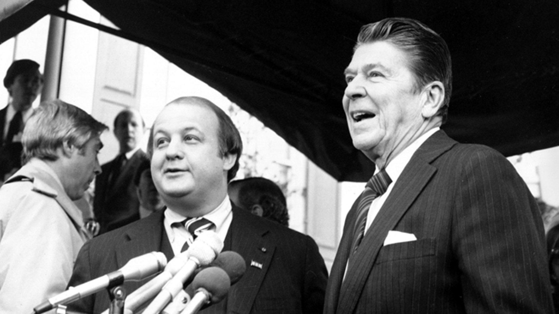 Jan. 6, 1981: President-elect Ronald Reagan introduces James Brady as his press secretary in Washington.