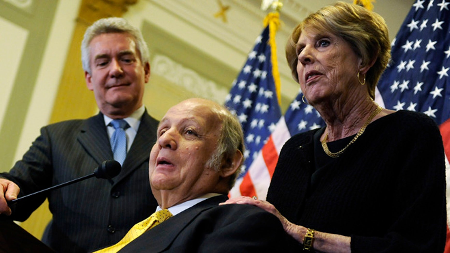 Mar. 30, 2011: James Brady (C), former White House Press Secretary under Ronald Reagan, makes remarks with his wife Sarah Brady (R) during a news conference to urge members of Congress for progress on gun control legislation, specifically passage of a ban on large-capacity ammunition clips, in Washington. (Reuters)