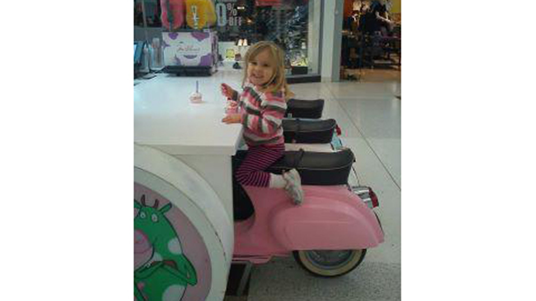 Chris White snapped this photo of his daughter, Hazel, eating ice cream at Braehead shopping center near Glasgow, Scotland.