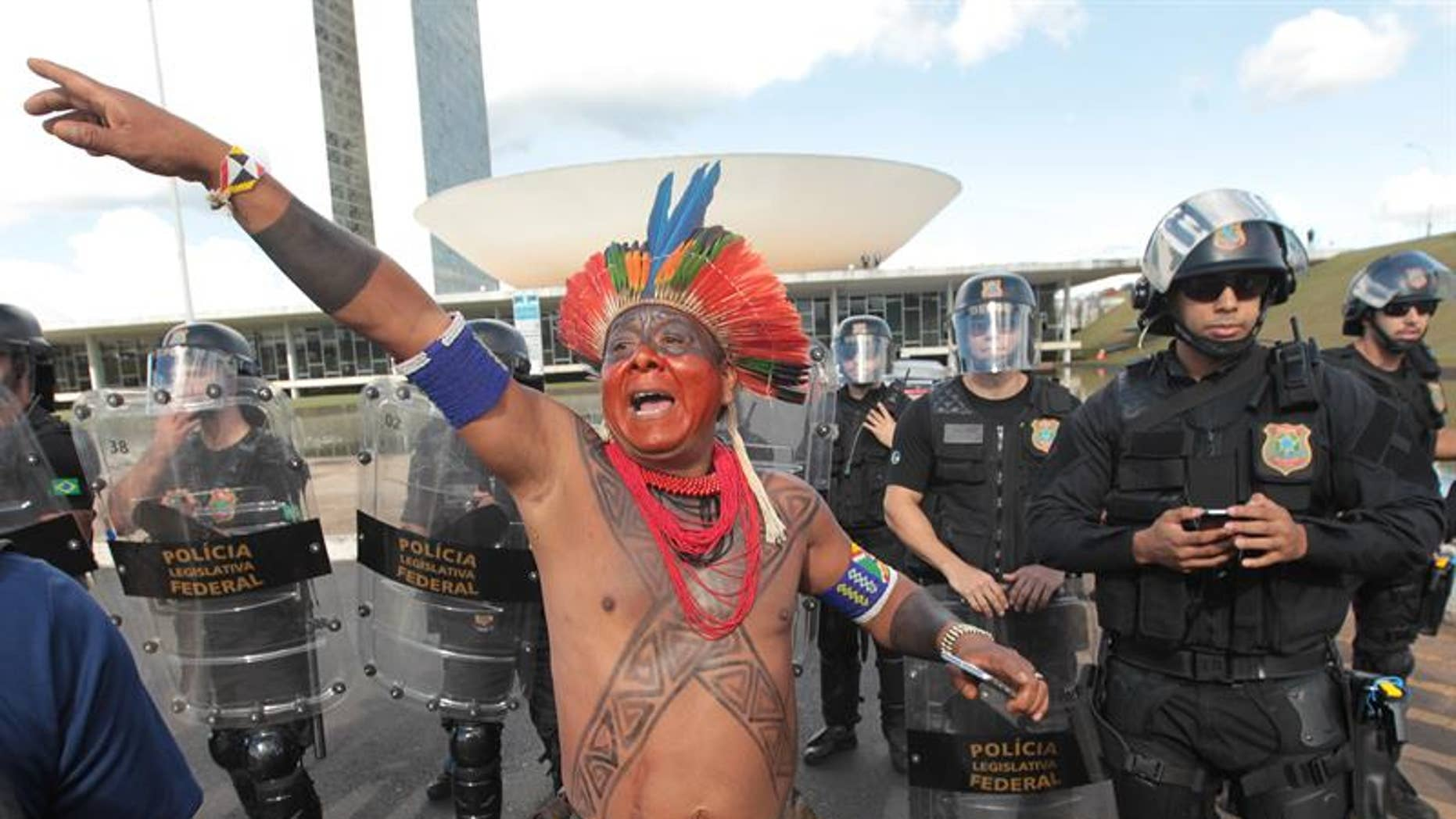 An indigenous protester during a protest next to Explanada dos Ministerios in Brasilia, April 25, 2017.