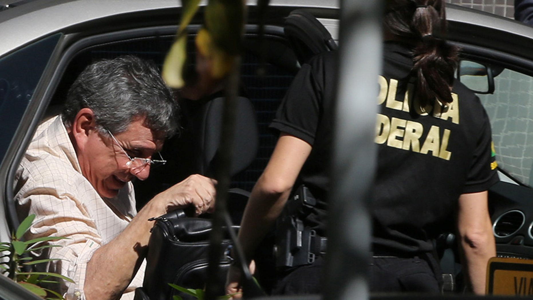 Tadeu Filippelli arrives at the Federal Police headquarter after he was arrested in Brasilia on May 23, 2017.