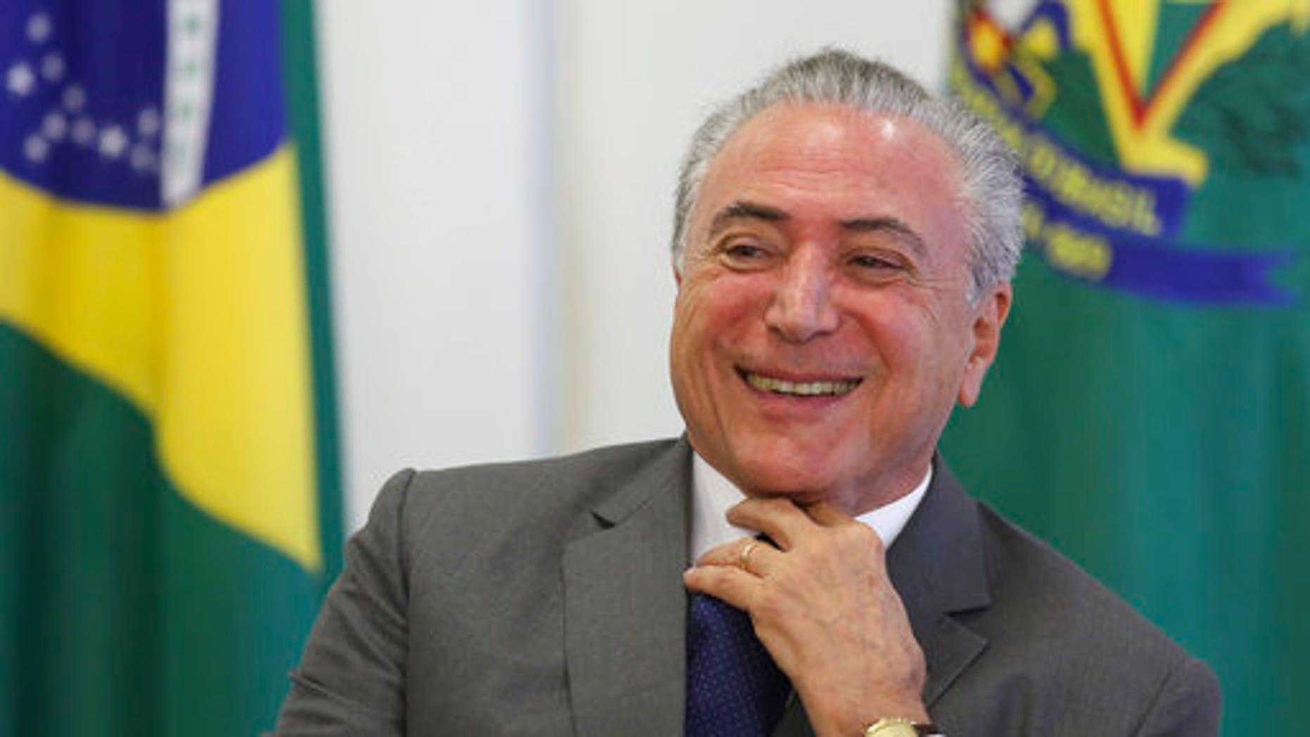 President Temer during a ceremony at the Planalto presidential palace, in Brasilia, Brazil, April 12, 2017.