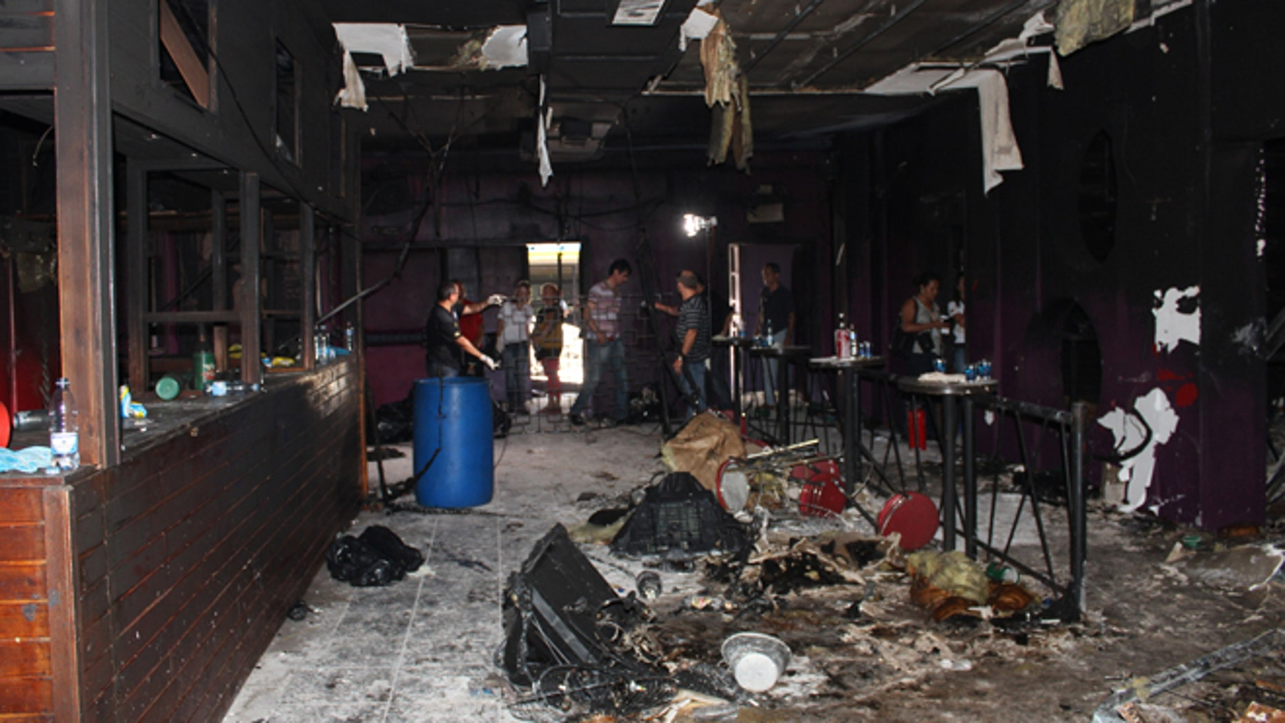 Jan. 29, 2012: This photo released by Policia Civil do Rio Grande do Sul, shows the inside of the Kiss nightclub  where a fire killed more than 230 people in Santa Maria city, Rio Grande do Sul state, Brazil. The blaze began at around 2:30 am local time on Sunday, during a performance by Gurizada Fandangueira, a country music band that had made the use of pyrotechnics a trademark of their shows.