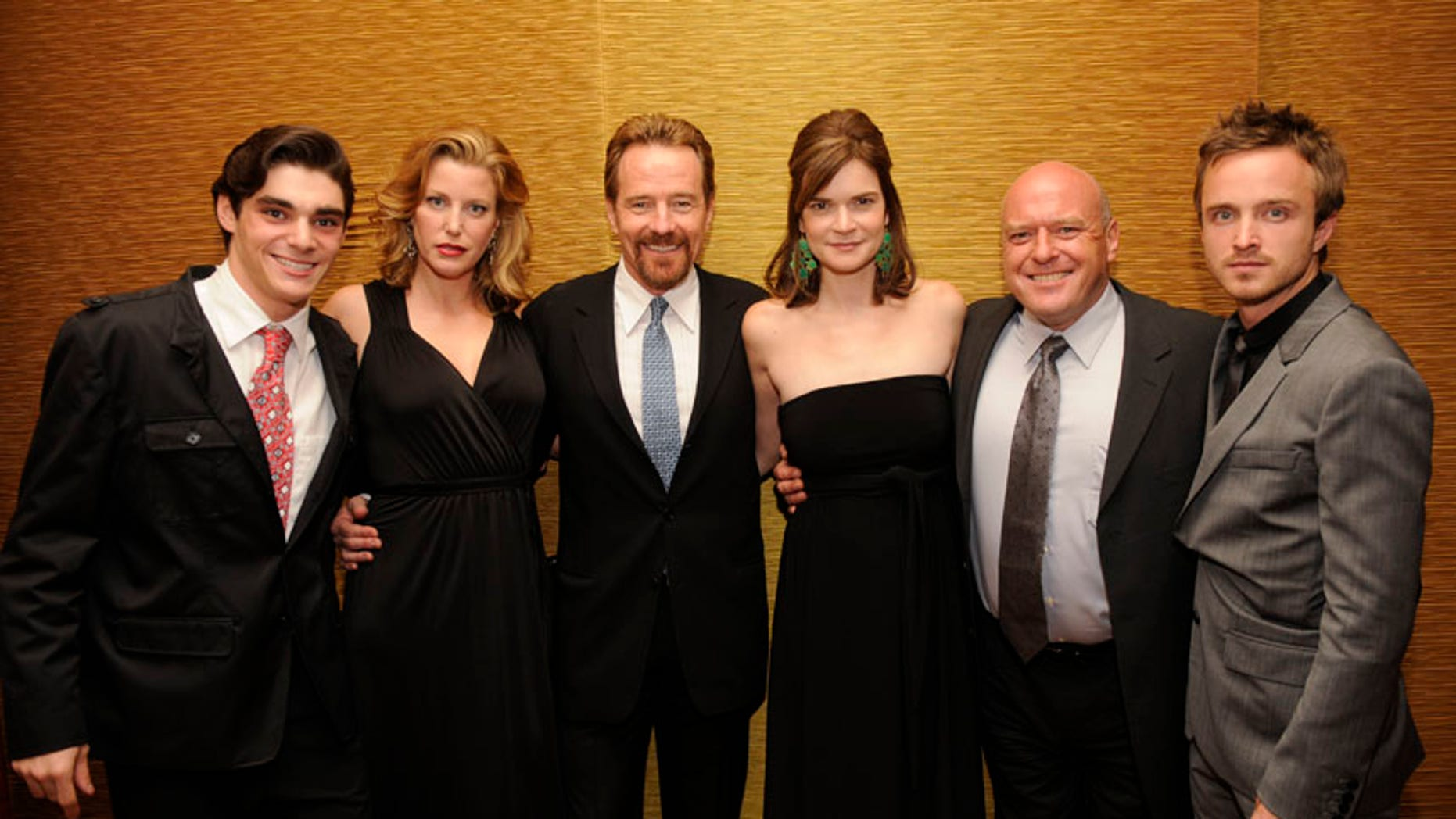 """""""Breaking Bad"""" cast members R.J. Mitte (L-R), Anna Gunn, Bryan Cranston, Betsy Brandt, Dean Norris and Aaron Paul attend the 25th Annual Television Critics Association Awards in Pasadena, California August 1, 2009. REUTERS/Phil McCarten (UNITED STATES ENTERTAINMENT) - RTR26C16"""