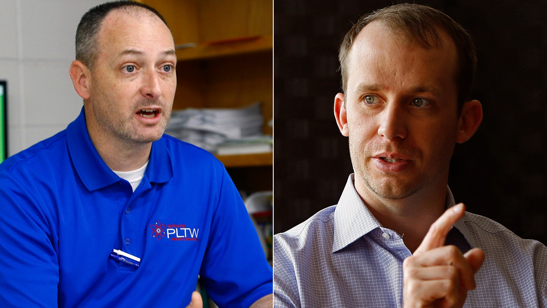 Travis Brenda, left, defeated Kentucky House Majority Leader Jonathan Shell in Tuesday's primary election.