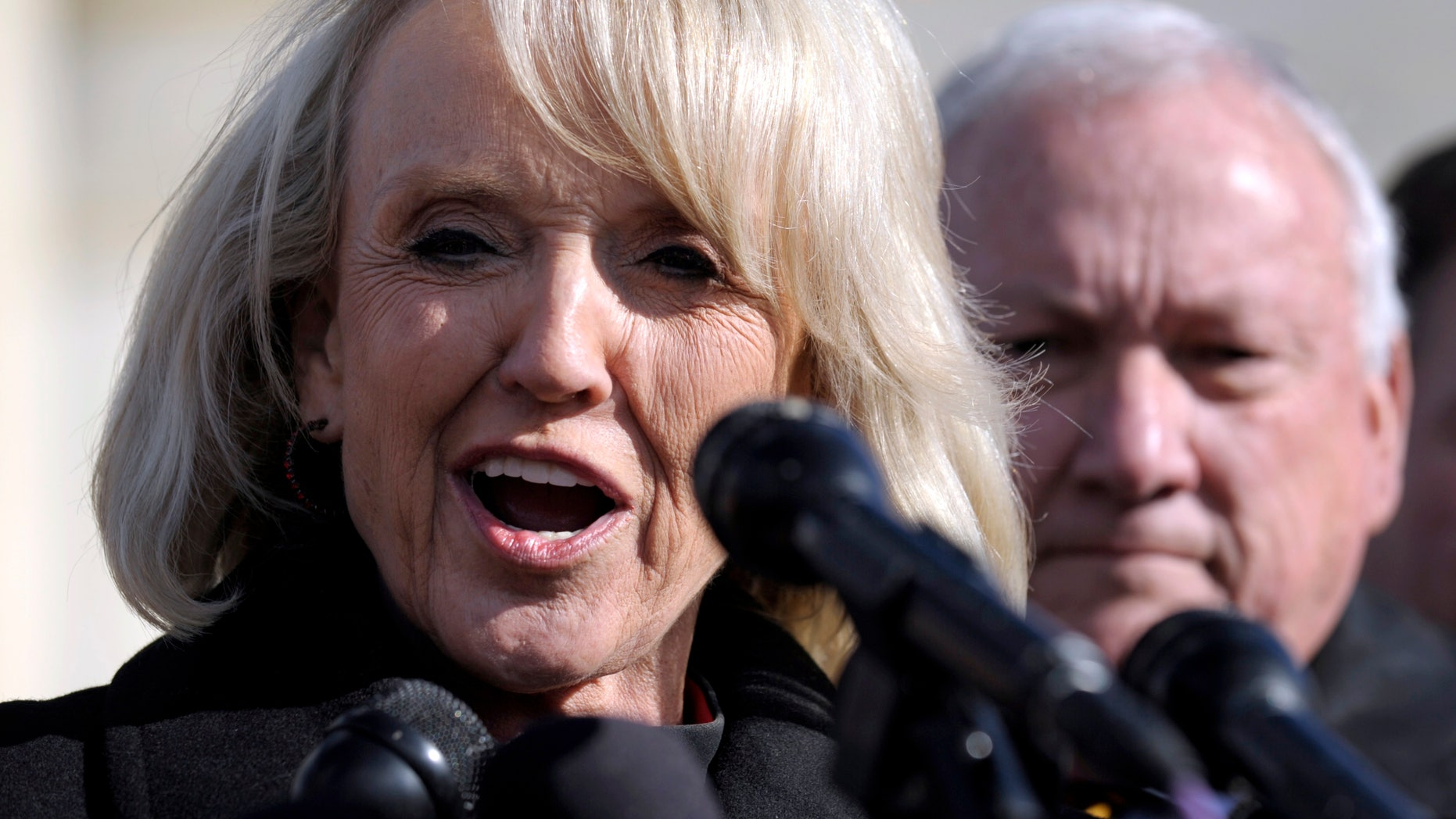 Arizona Gov. Jan Brewer speaks to reporters outside the Supreme Court in Washington, Wednesday, Dec. 8, 2010. (AP)