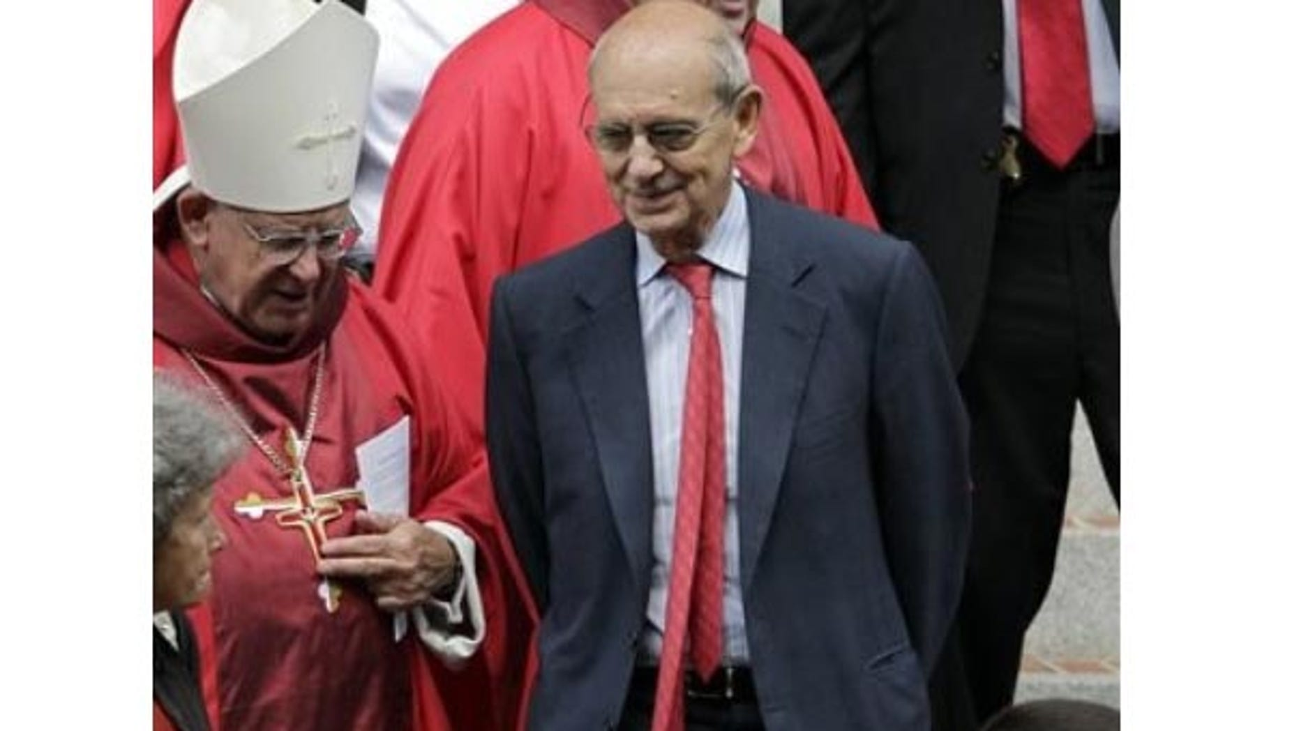 FILE: Supreme Court Justice Stephen Breyer leaves St. Matthew the Apostle's Cathedral on Oct. 3 following a Red Mass, a special Mass celebrated annually before the opening session of the Supreme Court, in Washington.