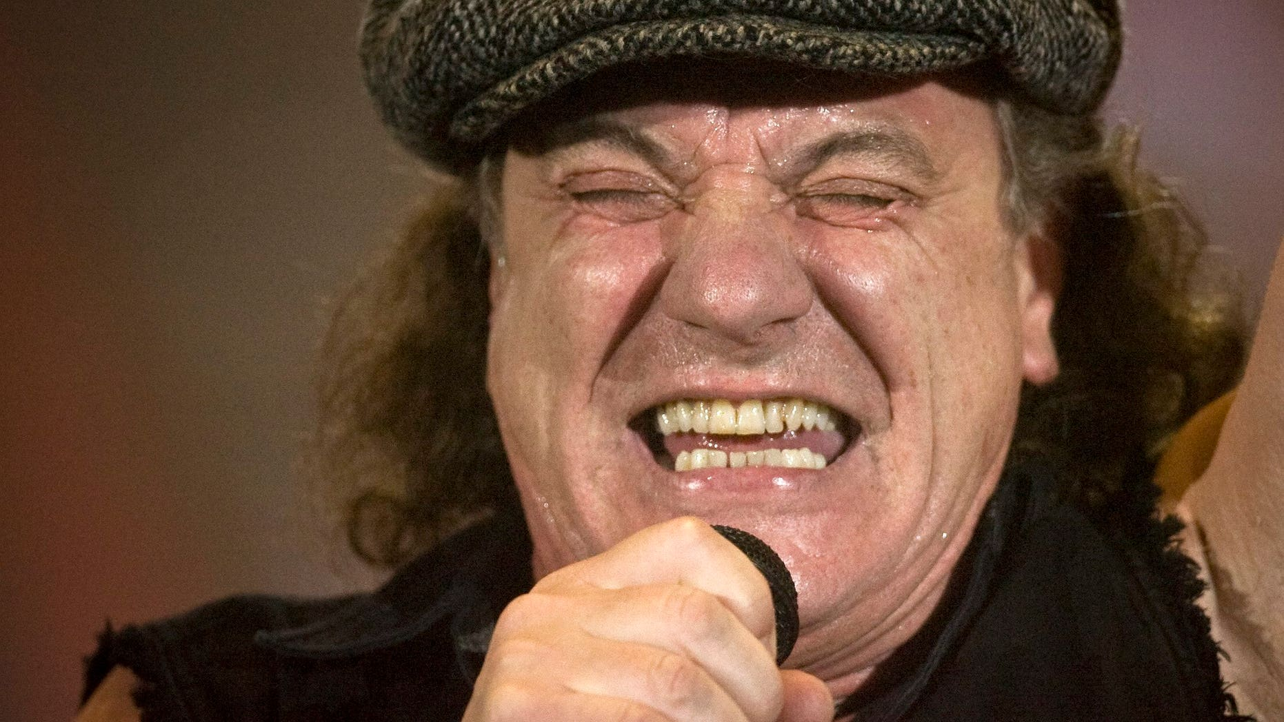 April 6, 2009. Brian Johnson, lead singer of Australian rock band AC/DC, performs during a concert at the Hallestadion in Zurich, Switzerland.
