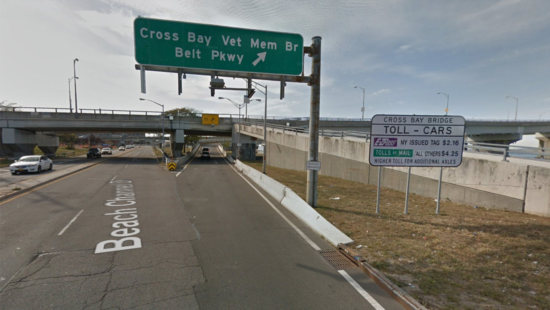 The entrance to the Cross Bay Bridge
