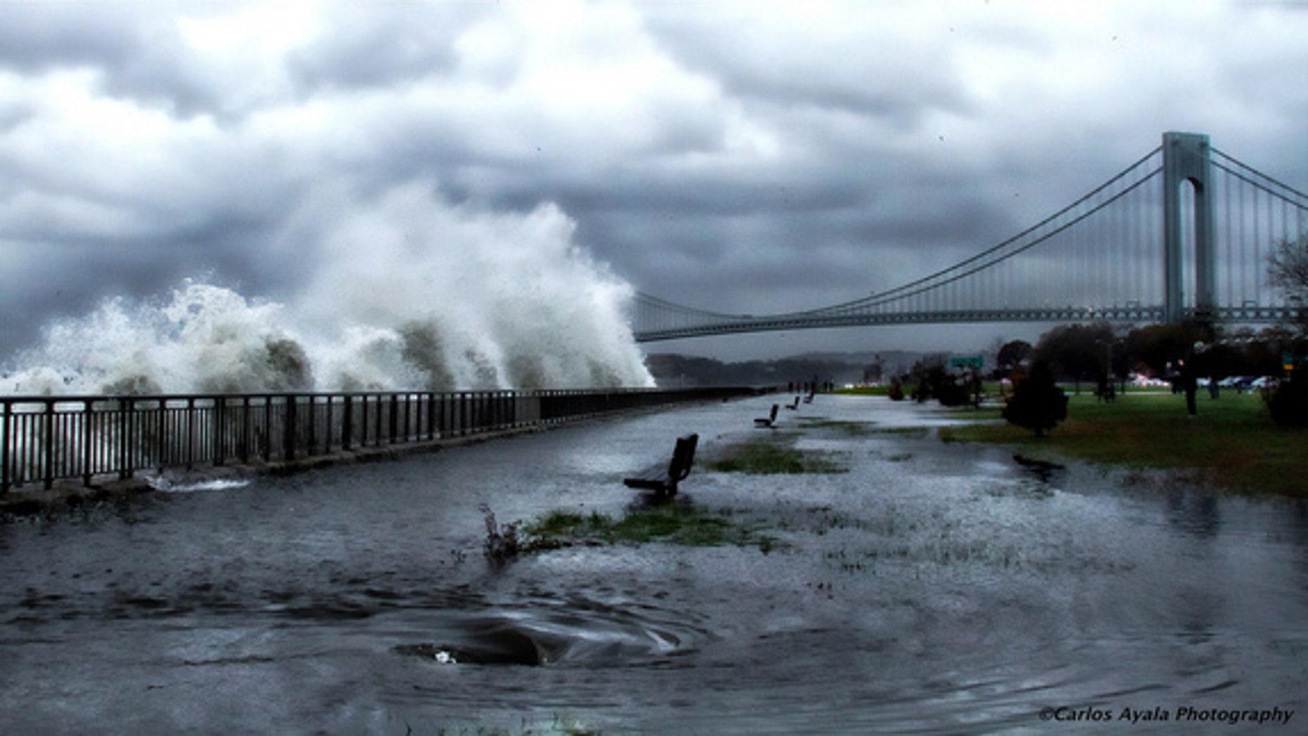 A striking image of Verrazano Bridge in Brooklyn as Hurricane Sandy approaches on Oct. 29, 2012.