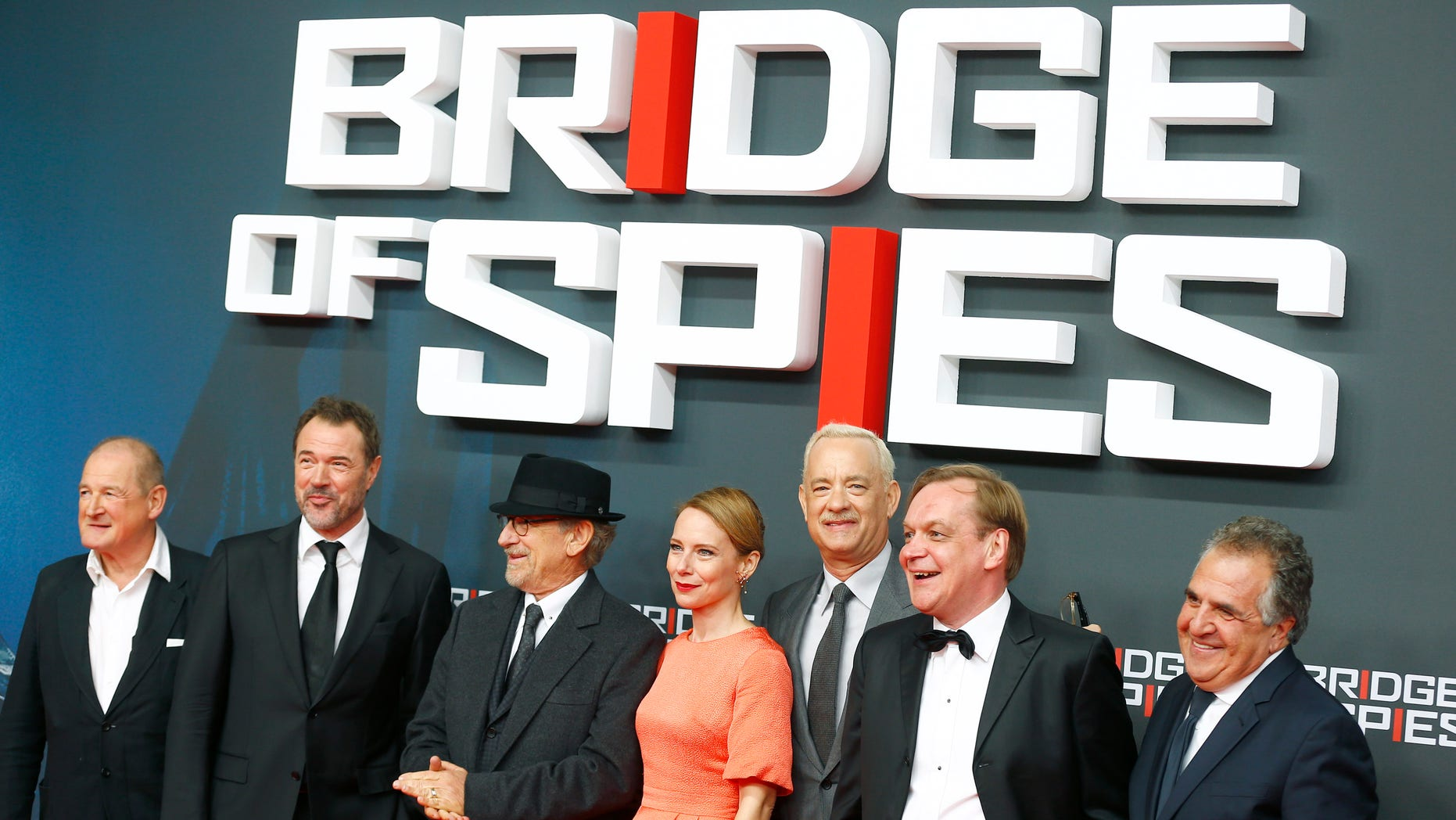 "November 13, 2015. Film director Stephen Spielberg, actors Tom Hanks (3rd R) Amy Ryan (4th R) Sebastian Koch (2nd L) and cast members arrive for the premiere of the film ""Bridge of Spies"" in Berlin, Germany."