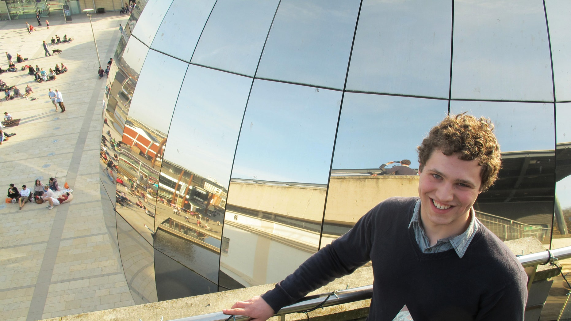 March 11, 2012: The Cambridge University student who is named UK Cyber Security Champion Jonathan Millican, poses for a photograph with his trophy at the Science Museum in Bristol, England.