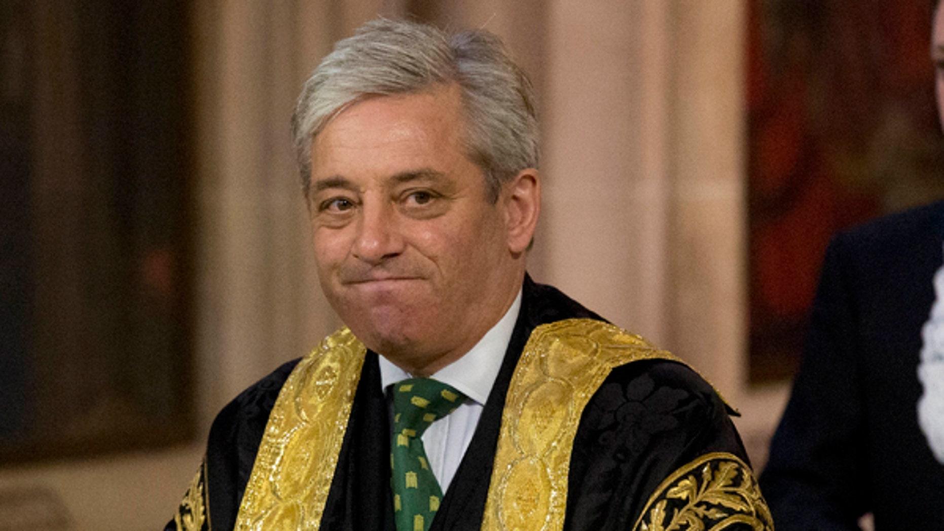 Britain's Speaker of the House of Commons John Bercow