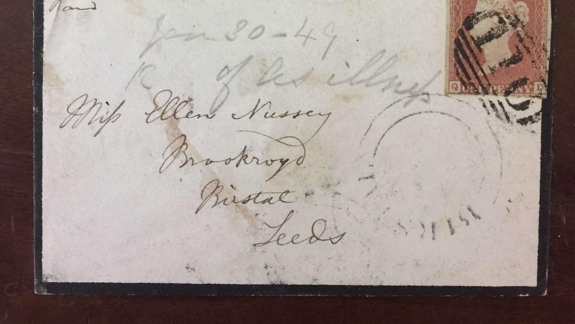 The envelope addressed to Bronte's friend Ellen Nussey postmarked Jan. 30, 1849 (Henry Aldridge & Son).