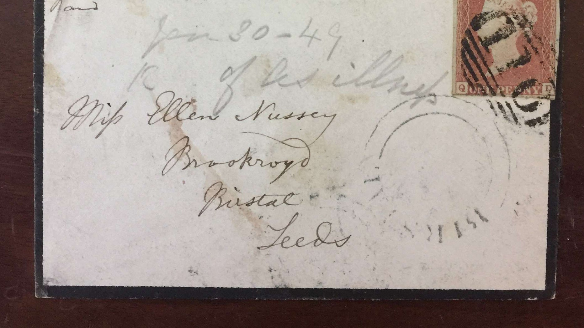 The envelope addressed to Bronte's friend Ellen Nussey postmarked Jan. 30, 1849 (Henry Aldridge & Son).