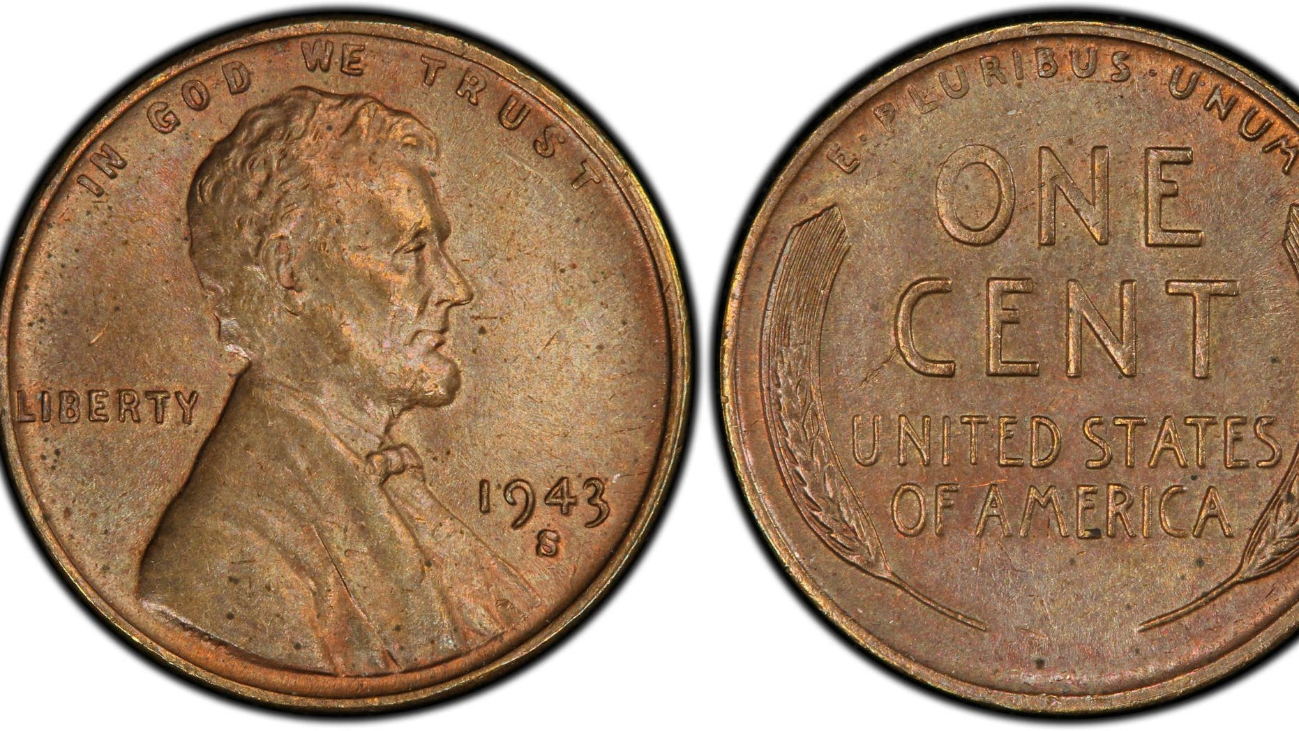 Pennies in 1943 were supposed to be made of zinc-coated steel and those grey-colored cents are quite common. A few coins, however, were erroneously made of bronze, the metal composition from the previous year. (PCGS.com)
