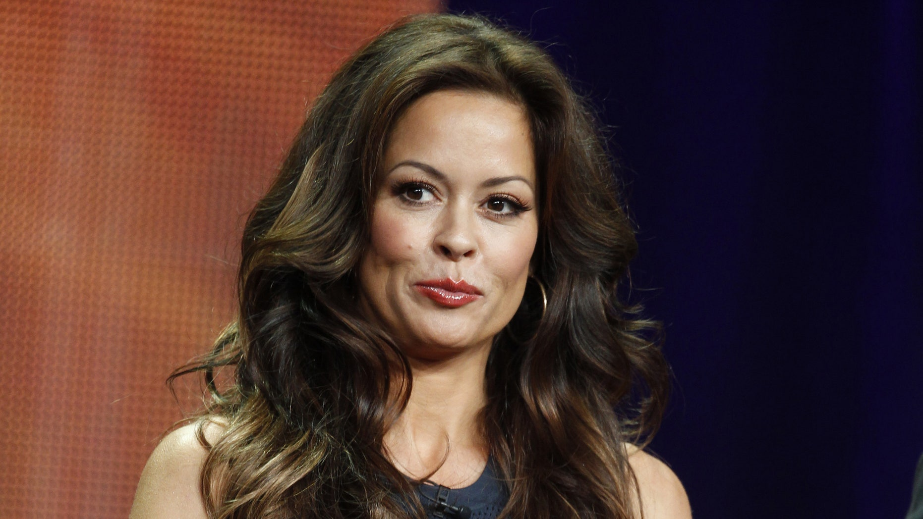 "July 27, 2012. Brooke Burke-Charvet, host of the upcoming reality series ""Dancing with the Stars: All Stars"" speaks during a panel discussion at the Disney-ABC Television Group portion of the Television Critics Association Summer press tour in Beverly Hills, California."