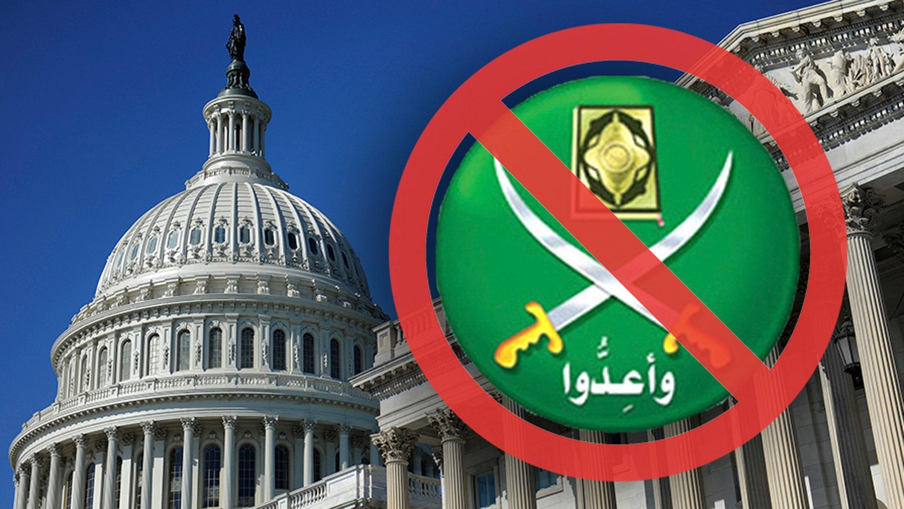 U.S. Capitol and Muslim Brotherhood symbol