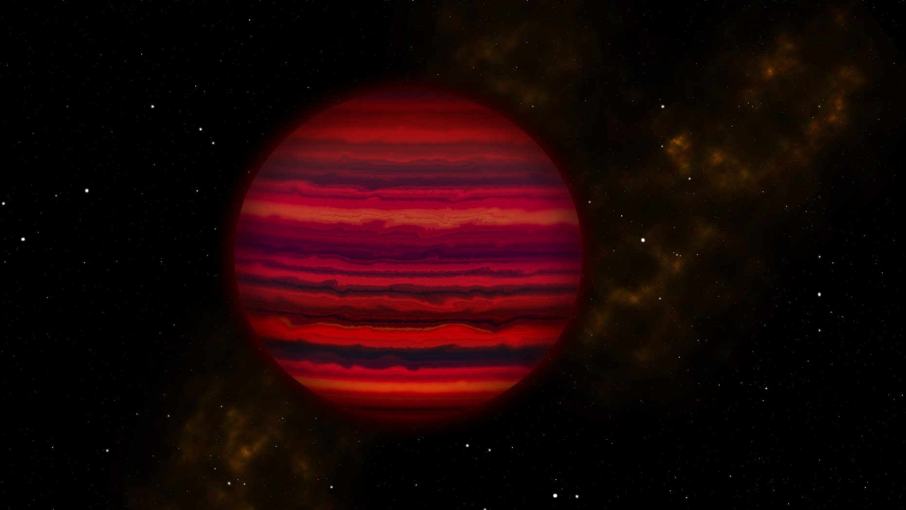 Artist's illustration of how the nearby brown dwarf WISE 0855 might appear if viewed close-up in infrared light.