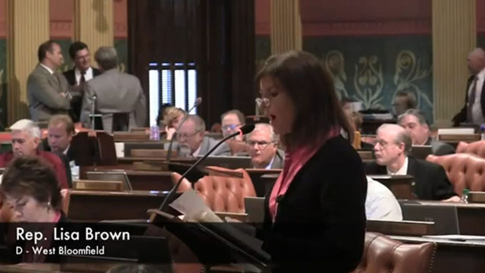 June 13, 2012: Michigan state Rep. Lisa Brown speaks during debate over an anti-abortion bill in Lansing, Mich.