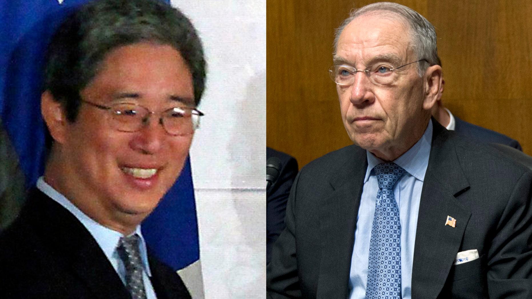 Bruce Ohr, left, and Sen. Chuck Grassley, R-Iowa.