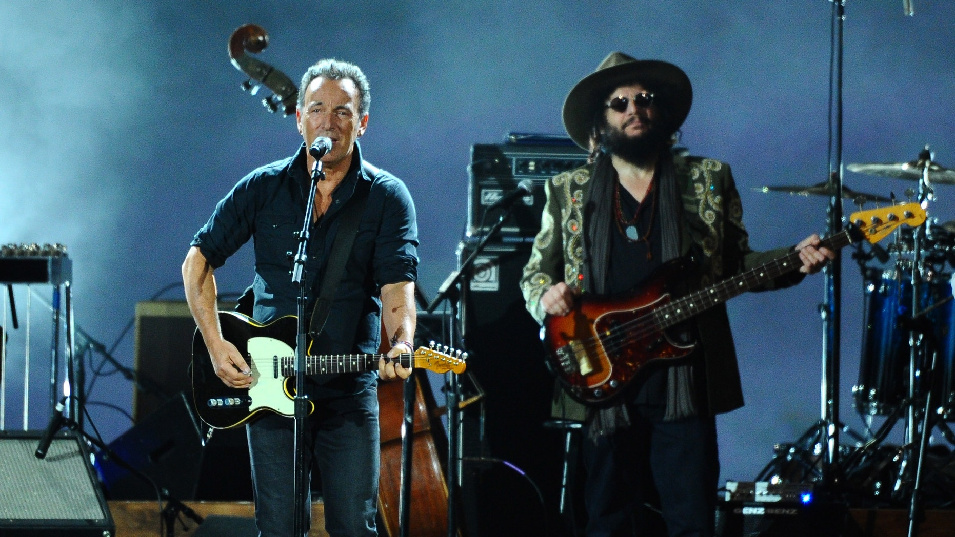 Feb 6, 2015. Bruce Springsteen, left, and Don Was perform on stage at the 2015 MusiCares Person of the Year show at the Los Angeles Convention Center in Los Angeles.