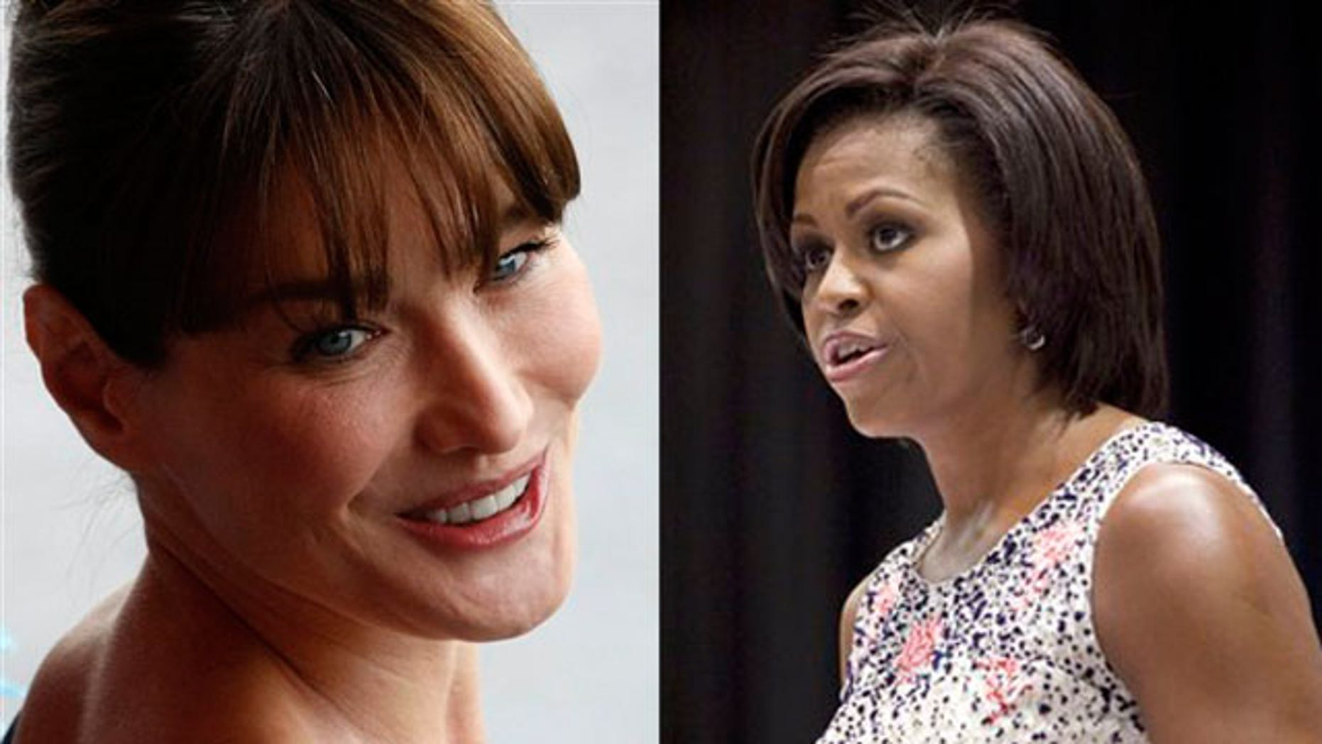 Shown here are French first lady Carla Bruni, left, and U.S. first lady Michelle Obama. (AP Photos)