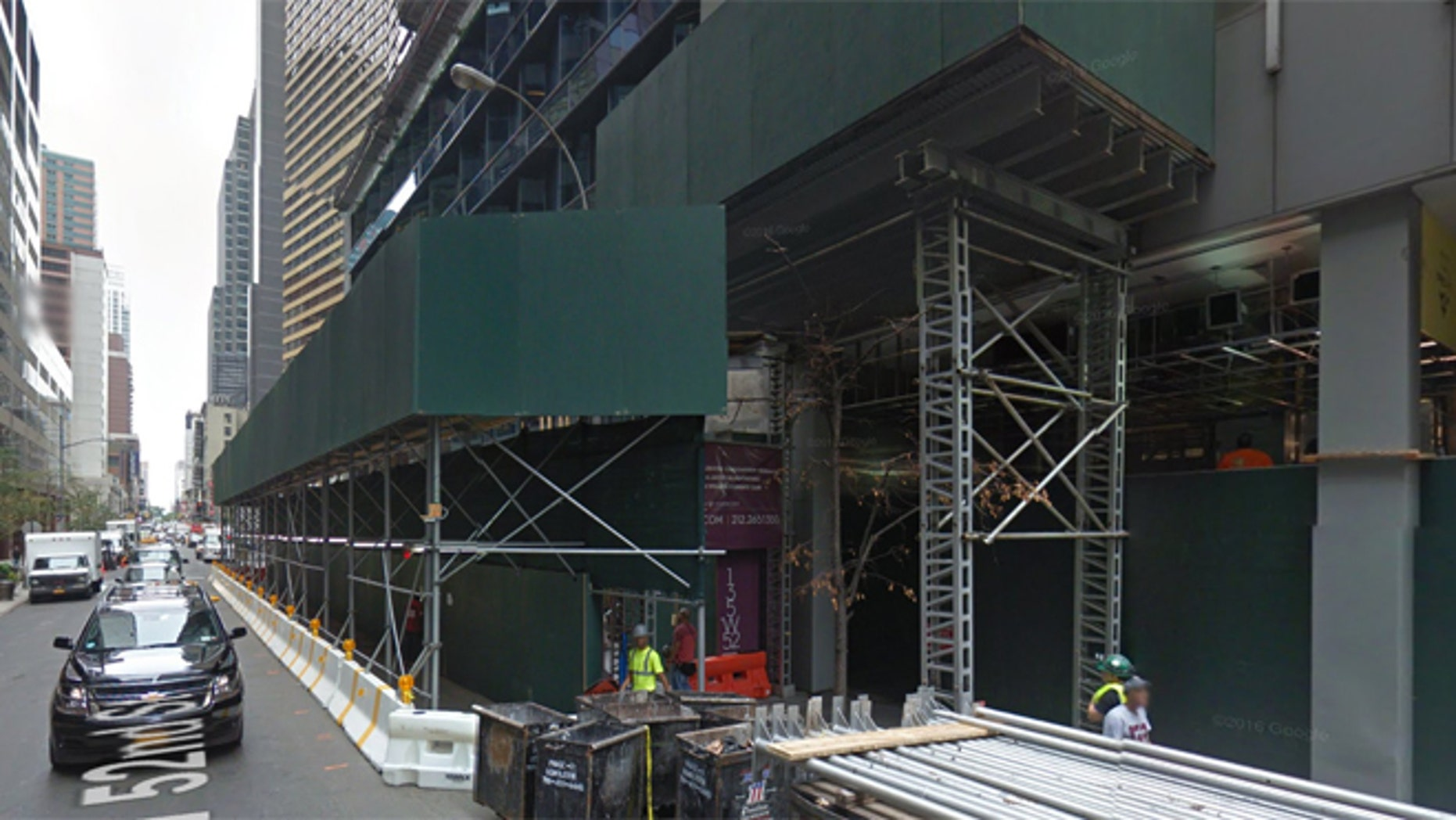 Building on W. 52nd Street in New York City where an architect fell to his death Thursday. (Google Street View)