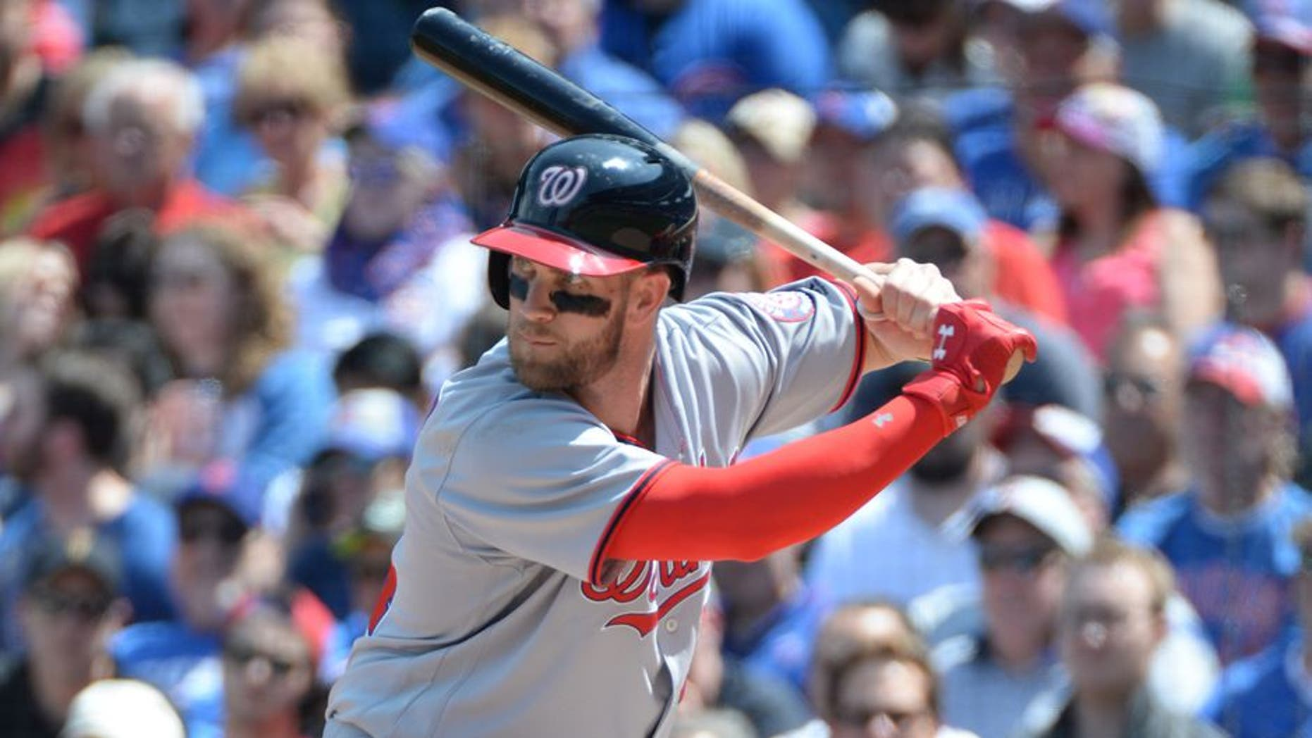 Washington Nationals Bryce Harper (34) during a game against theChicago Cubs on May 6 2016 at Wrigley Field in Chicago, IL. The Cubs beat the Nationals 8-6.(David Durochik via AP)