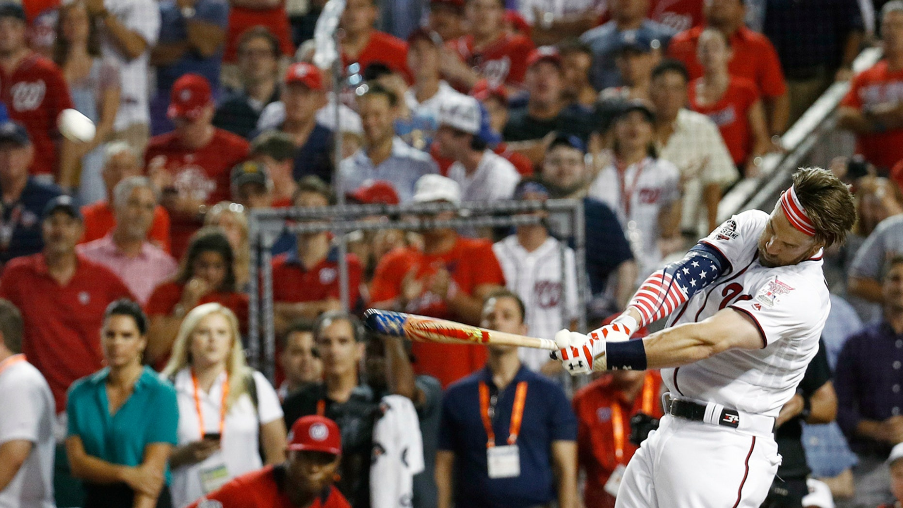Bryce Harper hit a total of 45 home runs in winning Monday night's Home Run Derby at Nationals Park.