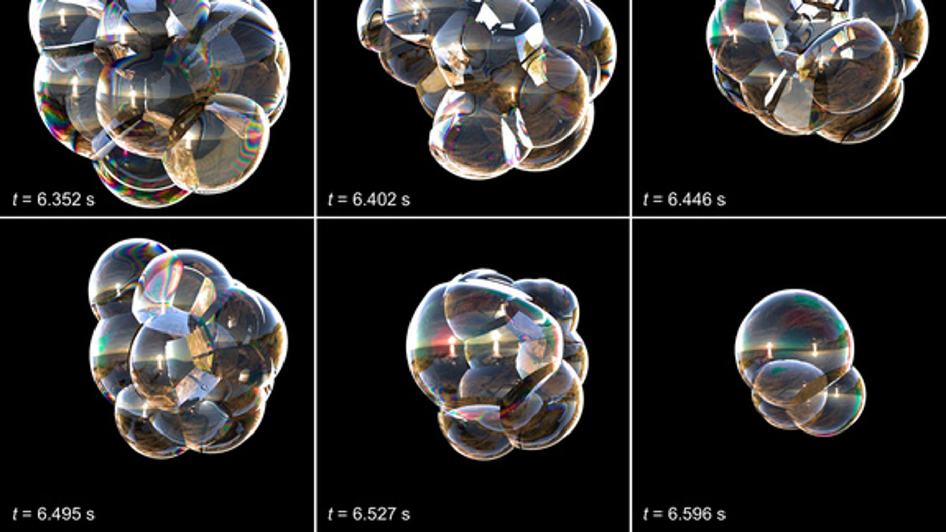 Snapshots of soap-bubble clusters that researchers used to study the dynamic behavior of foam.