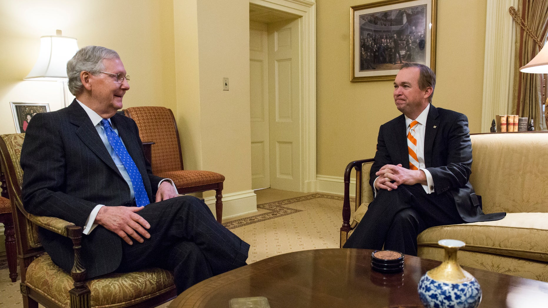 Jan. 5, 2017: Senate Majority Leader Mitch McConnell of Ky., left, meets with Budget Director-designate Rep. Mick Mulvaney, R-S.C. on Capitol Hill in Washington.