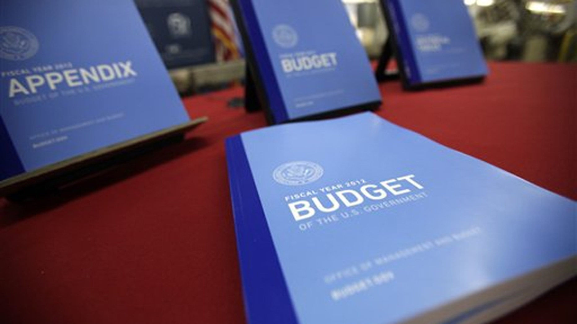 In this photo taken Feb. 10, the 2012 budget is on display at the U.S. Government Printing Office in Washington.