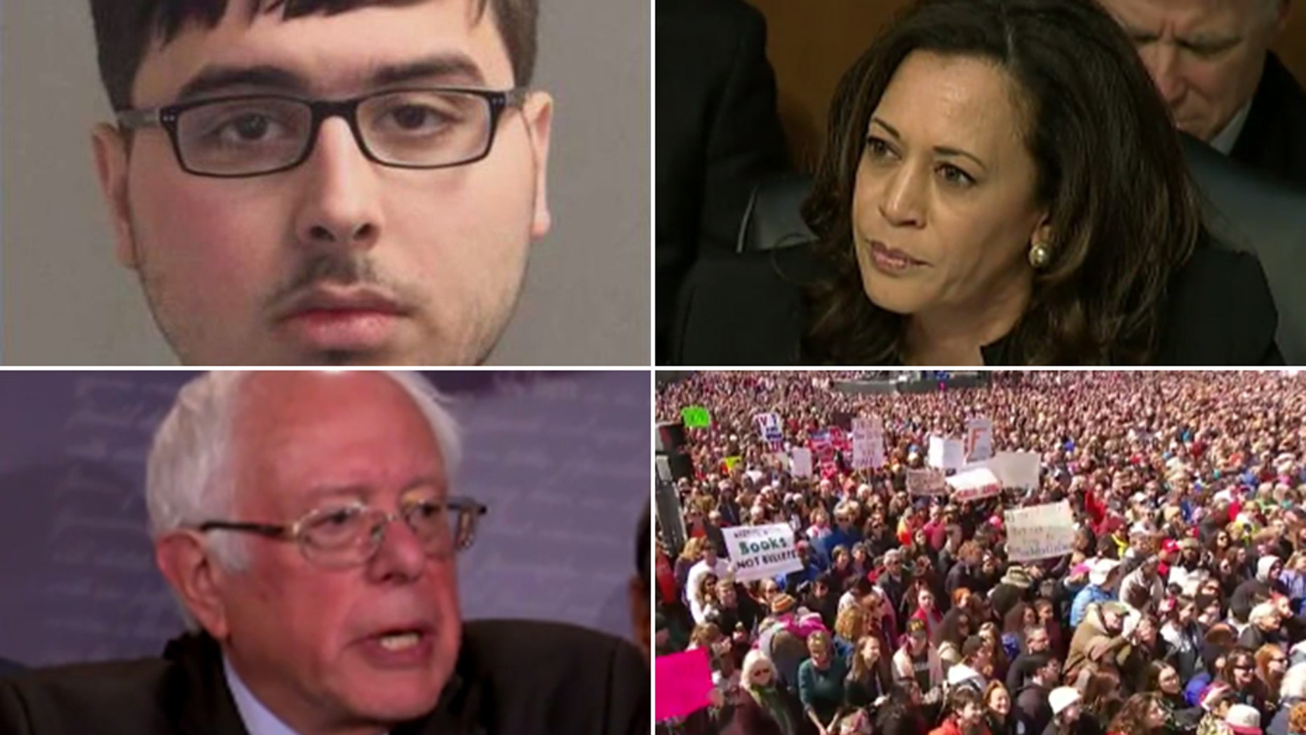 Nicholas Bukoski, top left, is accused of threatening Sen. Bernie Sanders, I-Vt., Sen. Kamala Harris, D-Calif., and 'March for Our Lives' rally attendees.