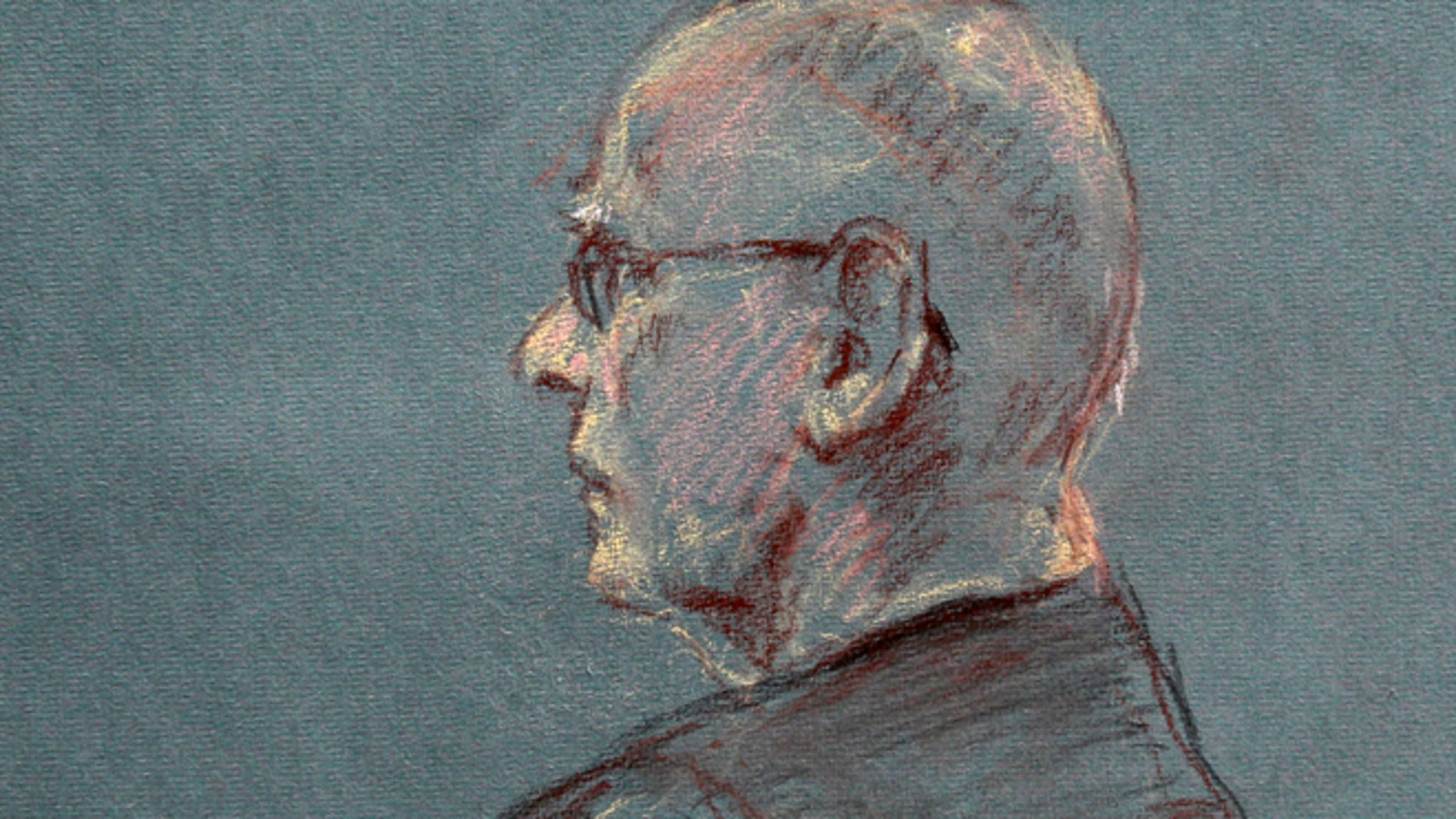 "This courtroom sketch depicts James ""Whitey"" Bulger at the beginning of jury selection for his trial in U.S. District Court in Boston, Tuesday, June 4, 2013. Bulger faces a long list of crimes, including playing a role in 19 killings. He spent more than 16 years on the run before being captured in Santa Monica, Calif., in 2011. (AP Photo/Margaret Small)"