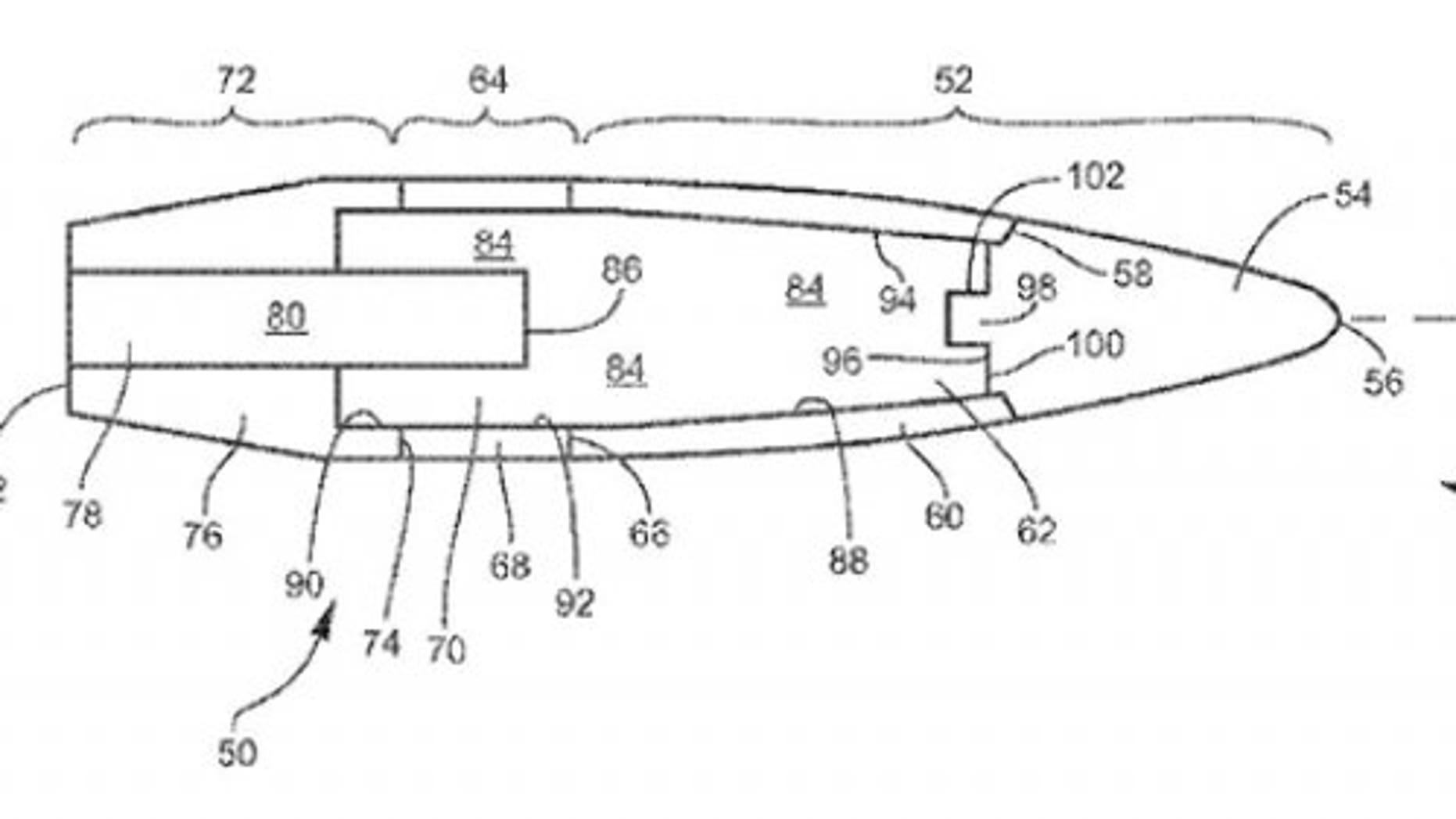 "The image above accompanies U.S. Patent 9,121,679 B1, ""Limited Range Projectile,"" (USPTO)."