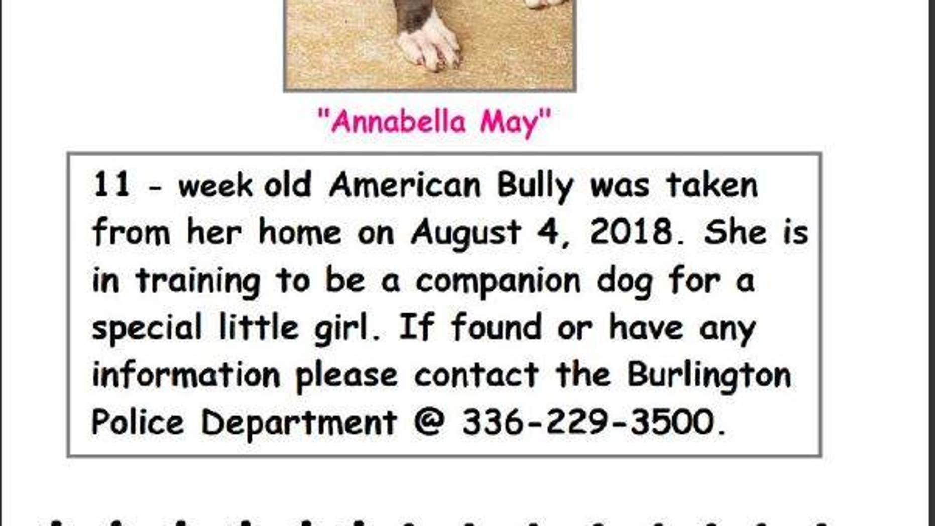 The puppy was stolen a week ago.