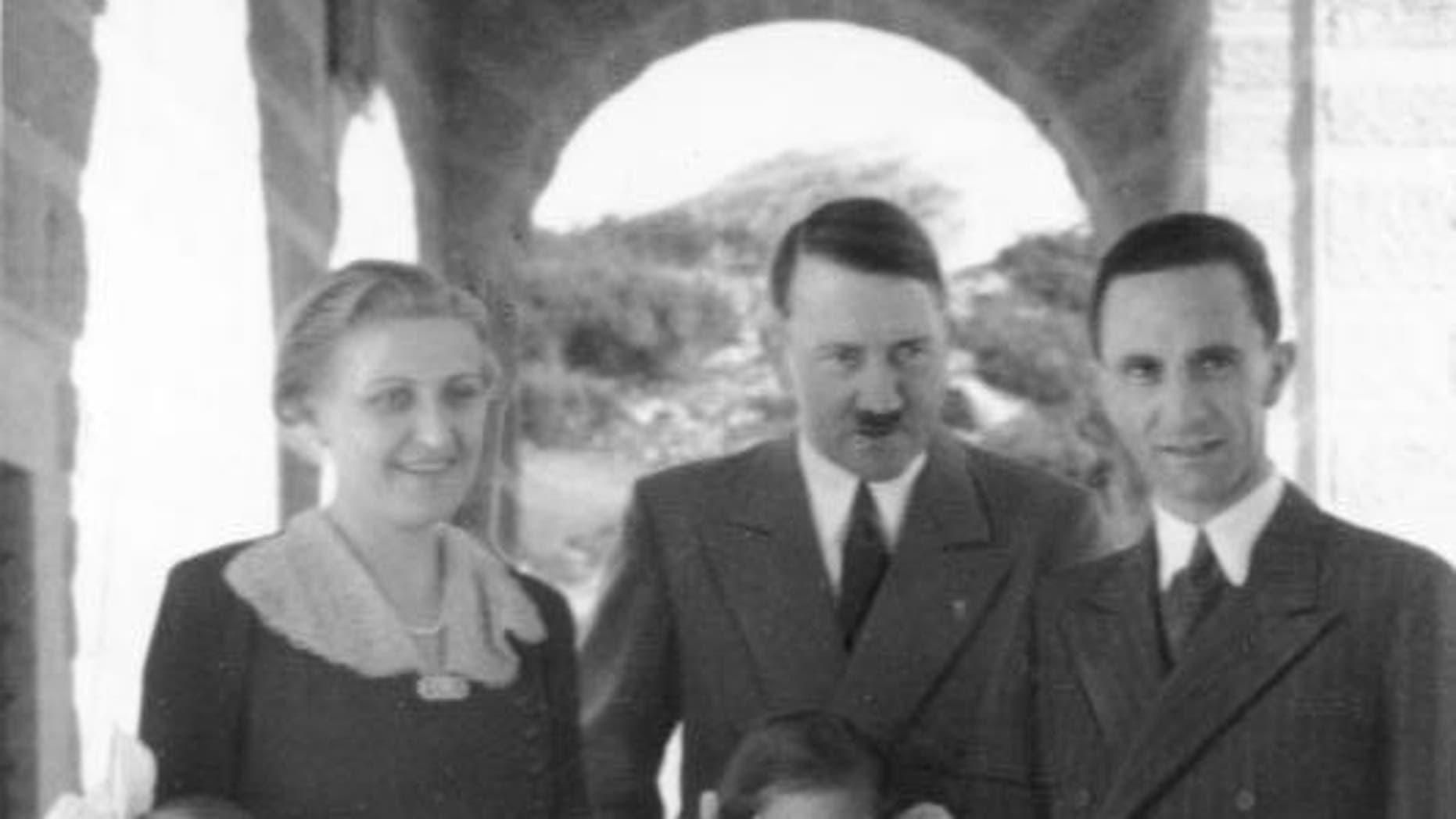 Magda Goebbels, left, Adolf Hitler and Joseph Goebbels in 1938.