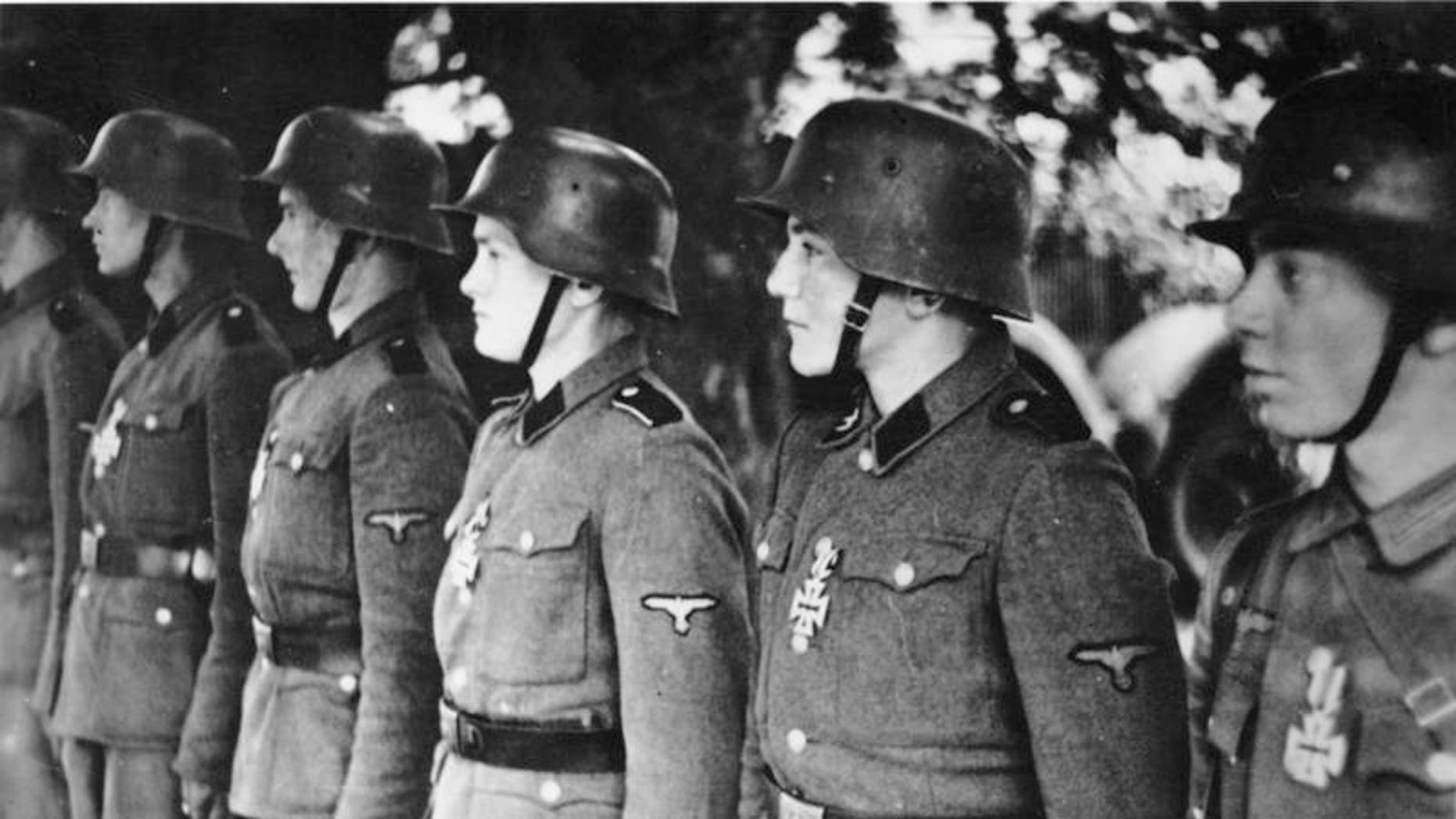 Members of the Waffen SS on parade.