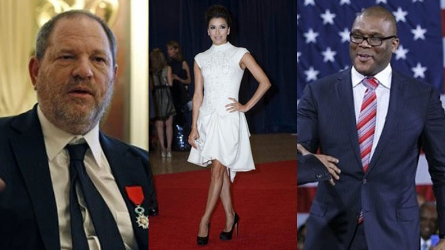 Shown here, from left to right, are producer Harvey Weinstein, actress Eva Longoria and actor Tyler Perry.