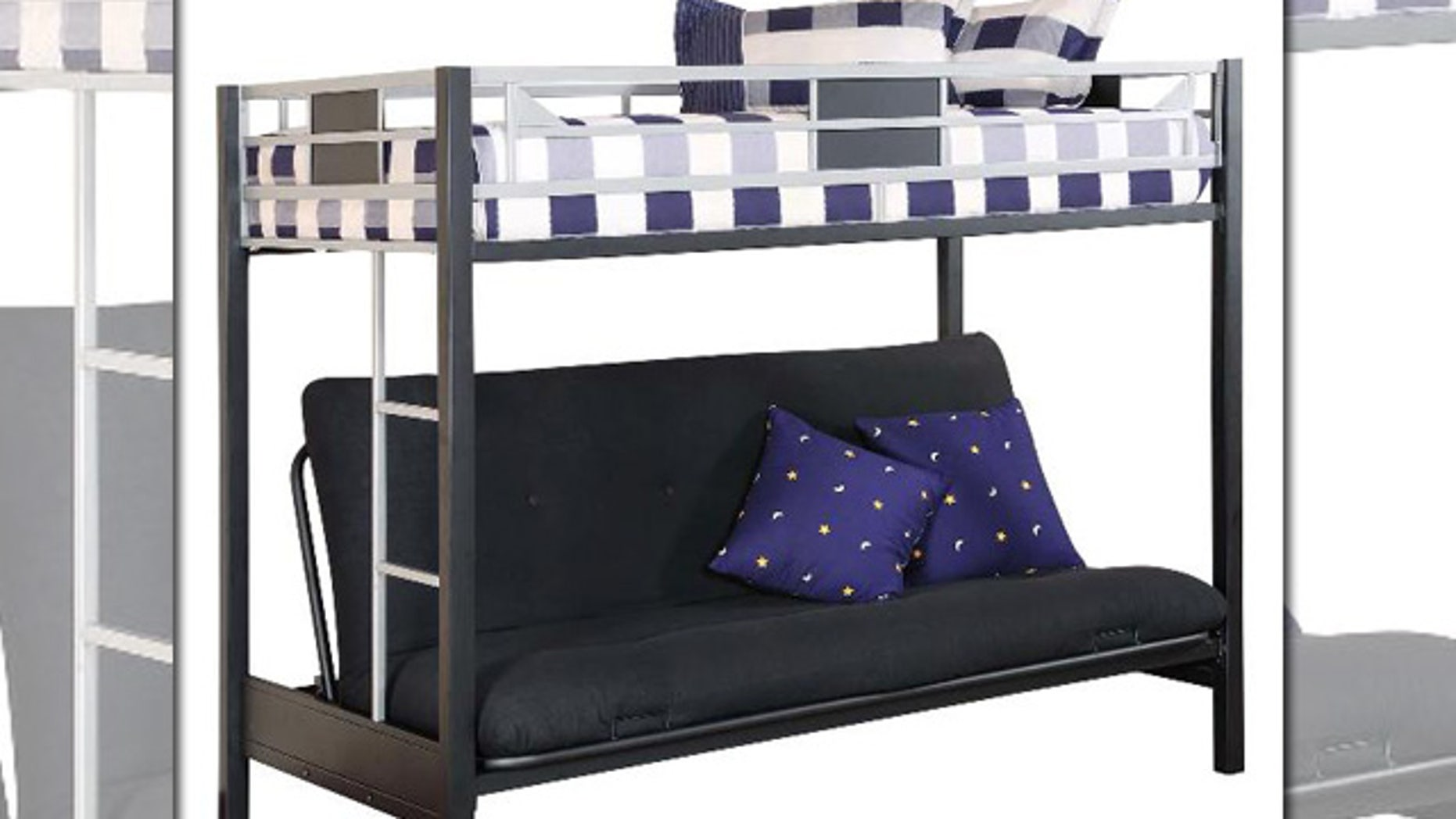 The recall involves metal futon bunk beds with model number BFB1008 located on a label on the upper bunk support rail.