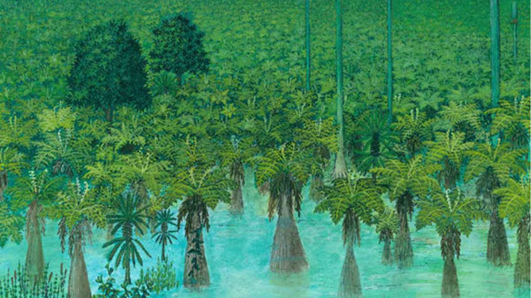 An artist's painting of a tropical forest before it was preserved in volcanic ash 300 million years ago in what is now Inner Mongolia.