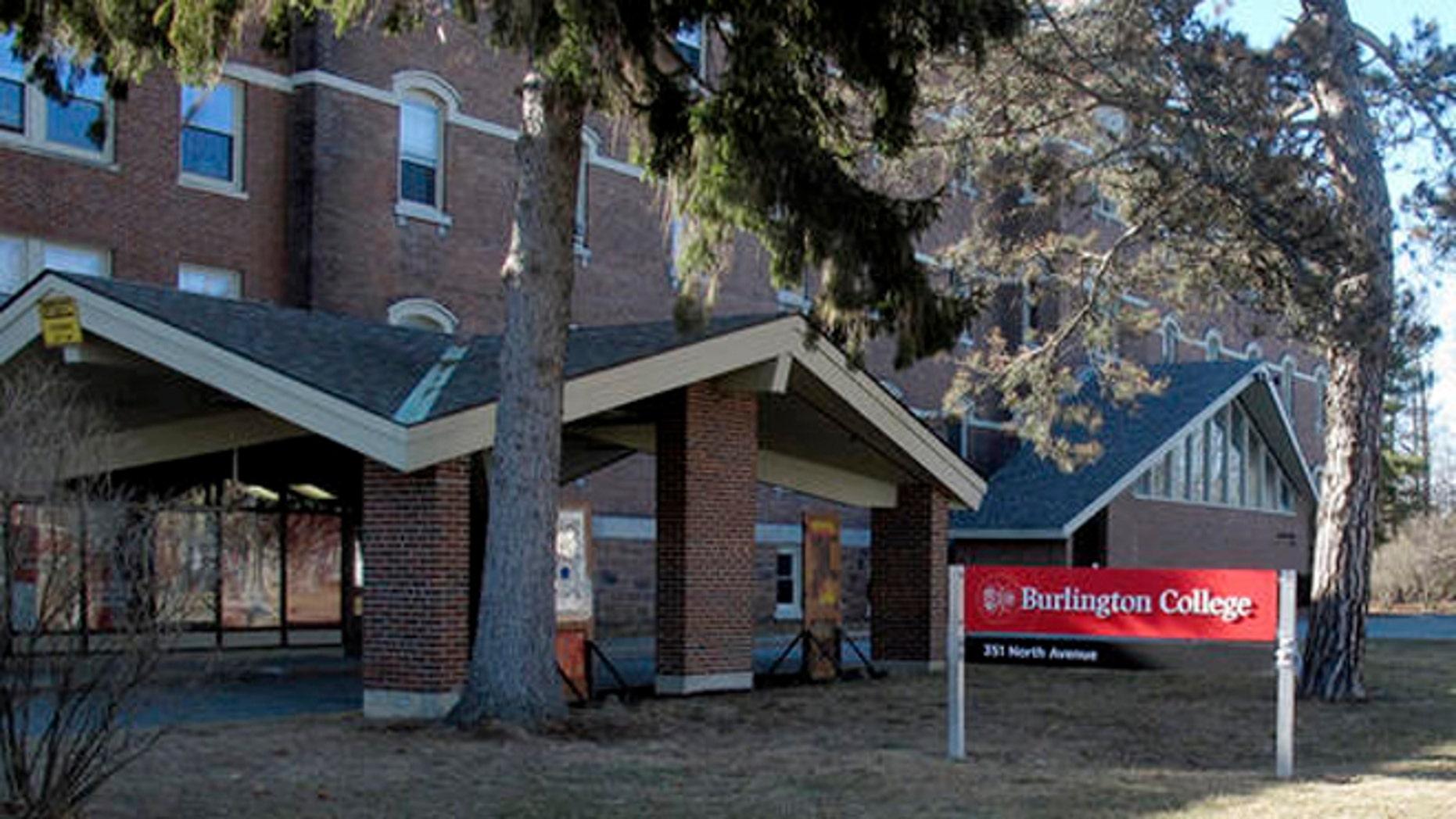 This Feb. 22, 2015 photo shows a building on the campus of Burlington College in Burlington, Vt.