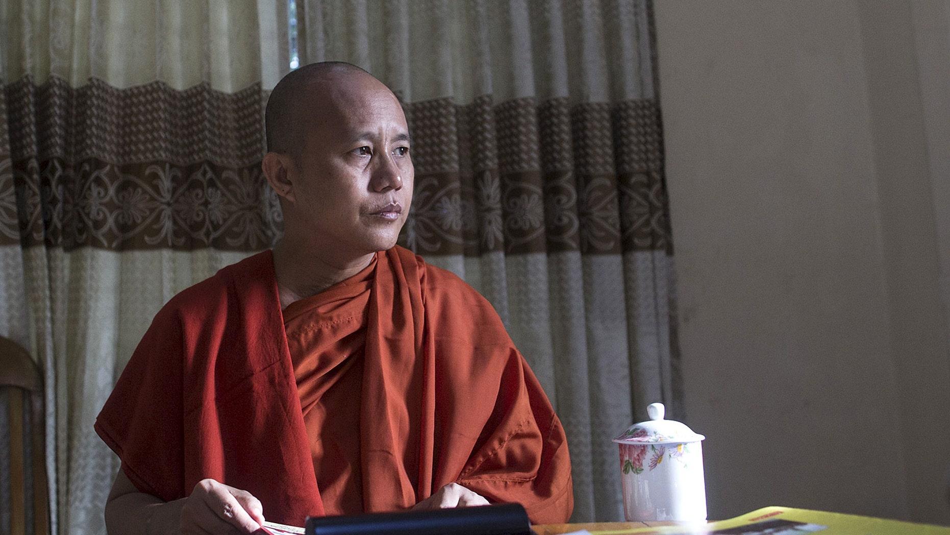 Myanmar's nationalist monk Wirathu during an interview in Yangon, Myanmar, on Oct. 4, 2015.