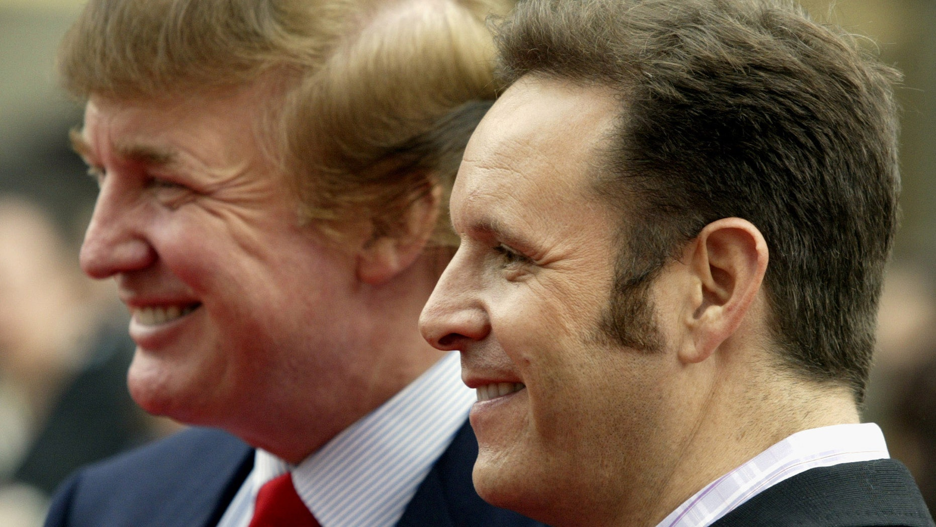 Donald Trump and Mark Burnett at NBC's announcement of it's 2003-2004 program schedule in New York, May 12, 2003.