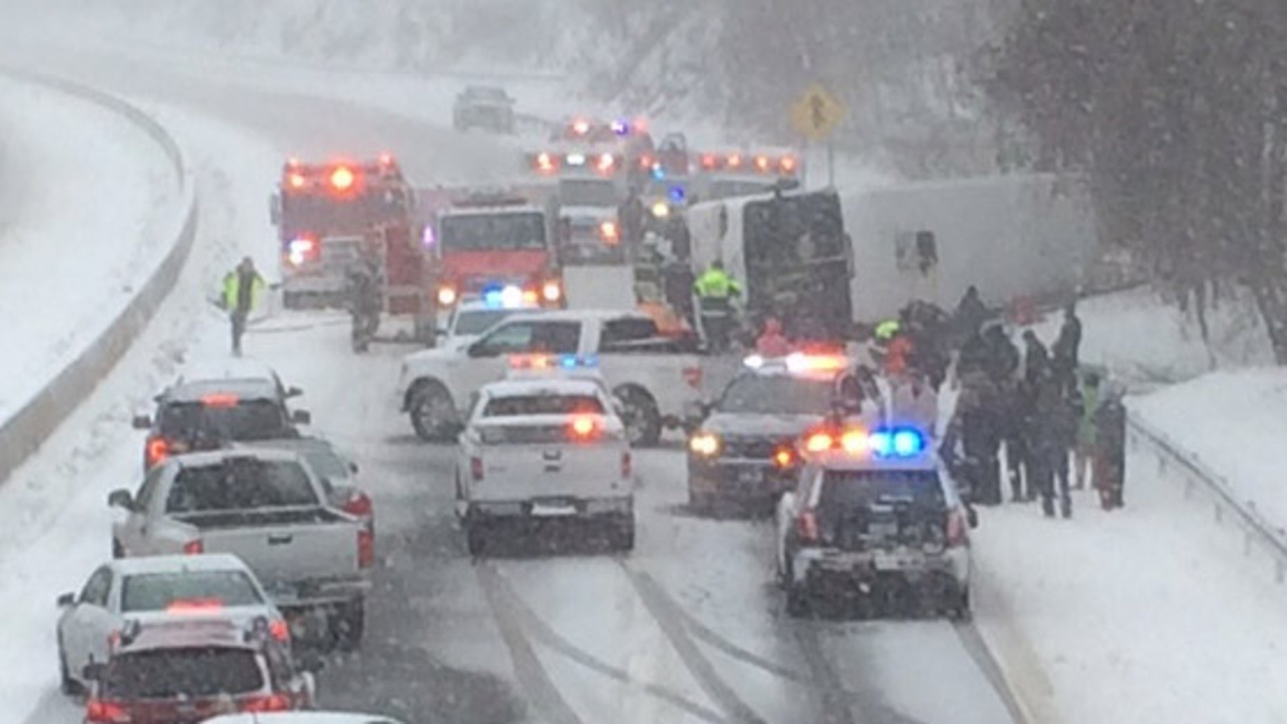 A charter bus overturned on Interstate 95 near Madison, Conn.
